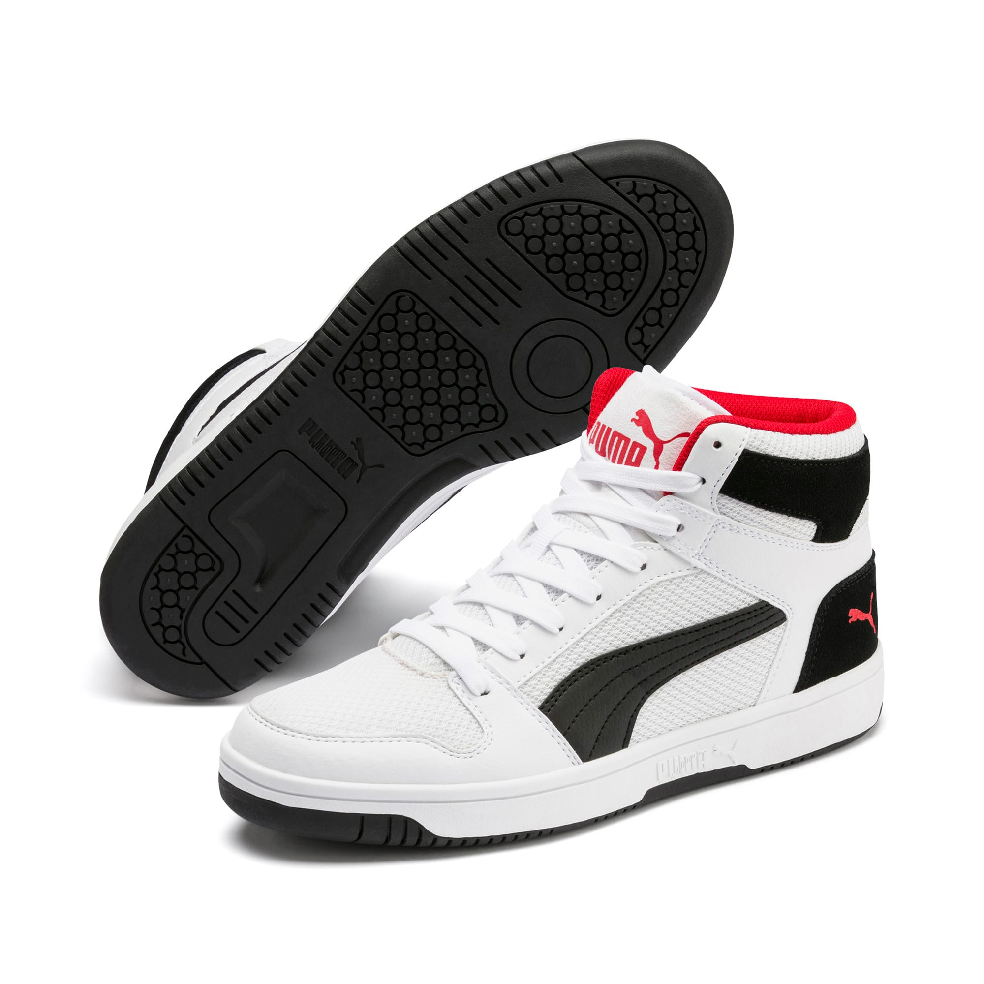 Thumbnail 2 of PUMA Rebound LayUp Mesh Sneakers, White-Black-High Risk Red, medium