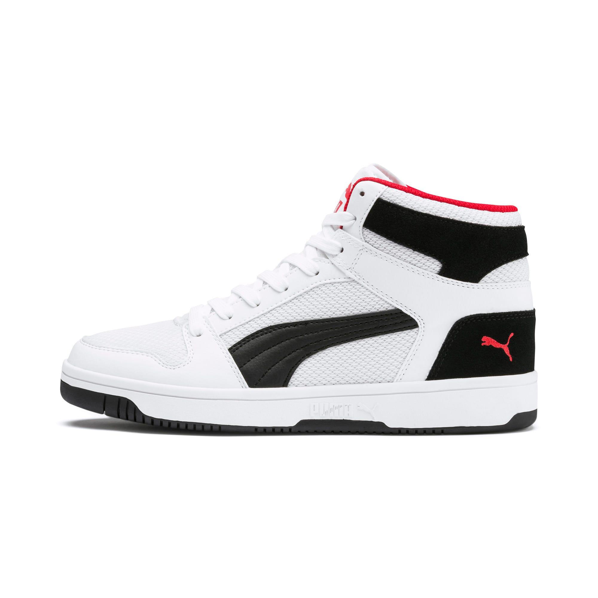 Thumbnail 1 of PUMA Rebound LayUp Mesh Sneakers, White-Black-High Risk Red, medium