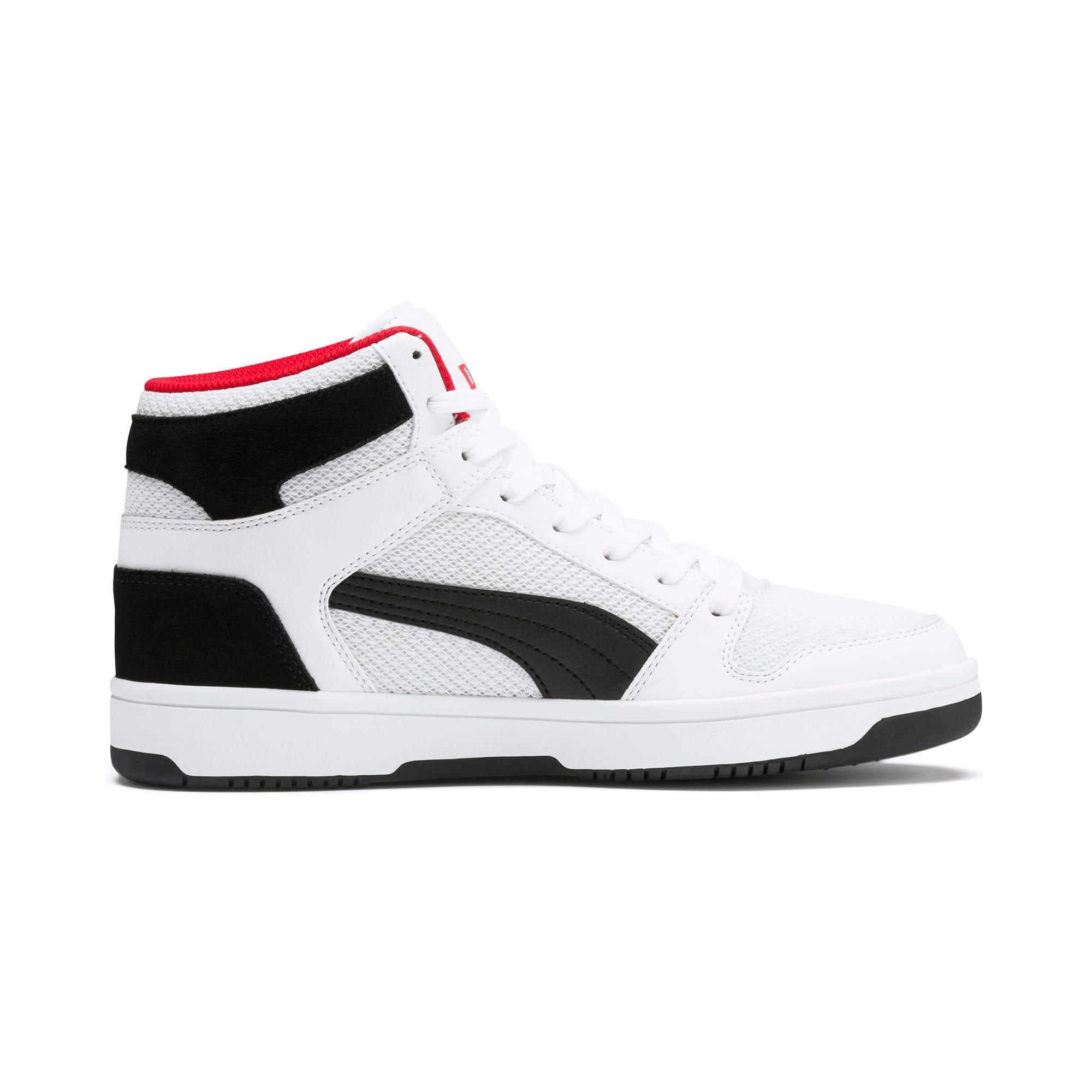 Thumbnail 5 of PUMA Rebound LayUp Mesh Sneakers, White-Black-High Risk Red, medium