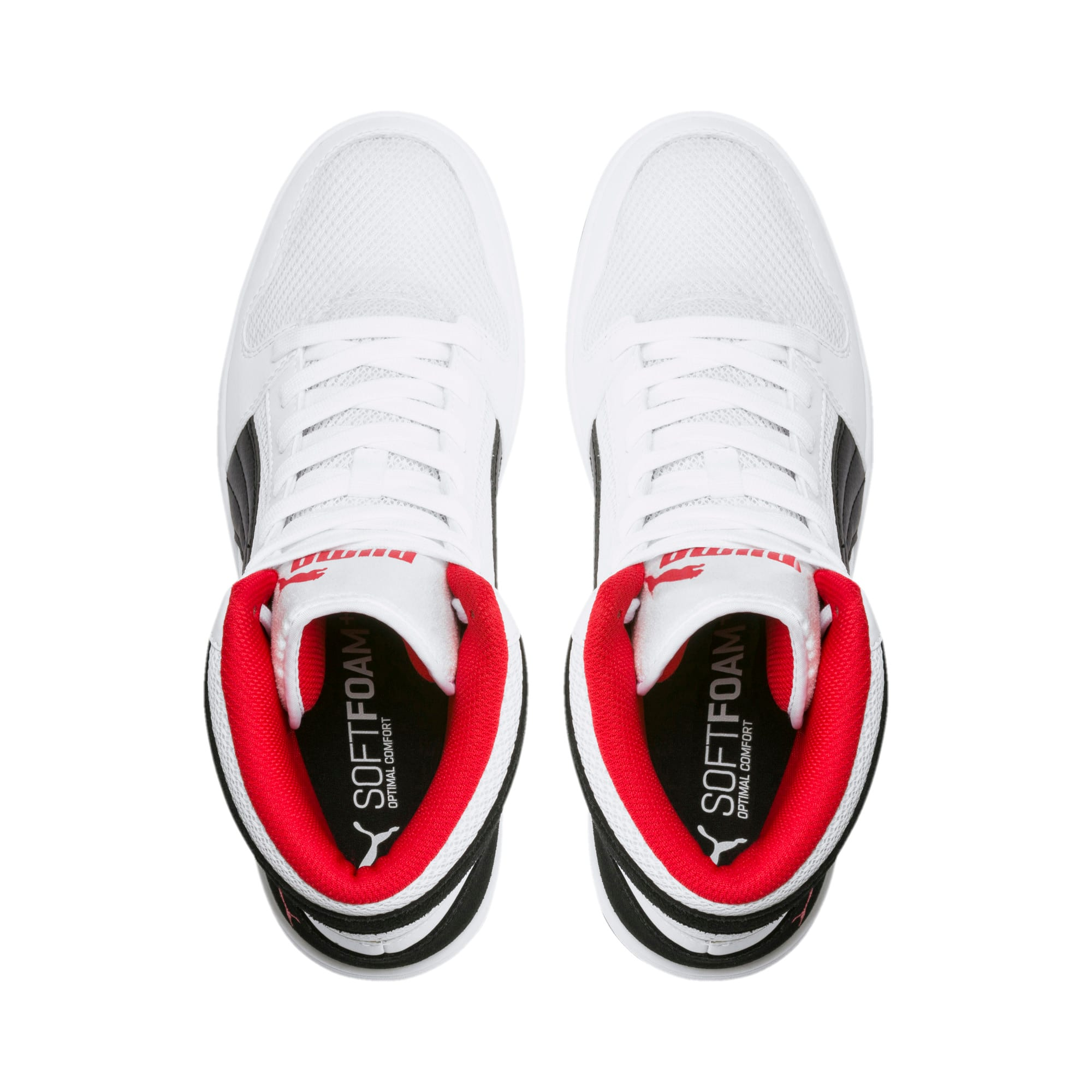 Thumbnail 6 of PUMA Rebound LayUp Mesh Sneakers, White-Black-High Risk Red, medium