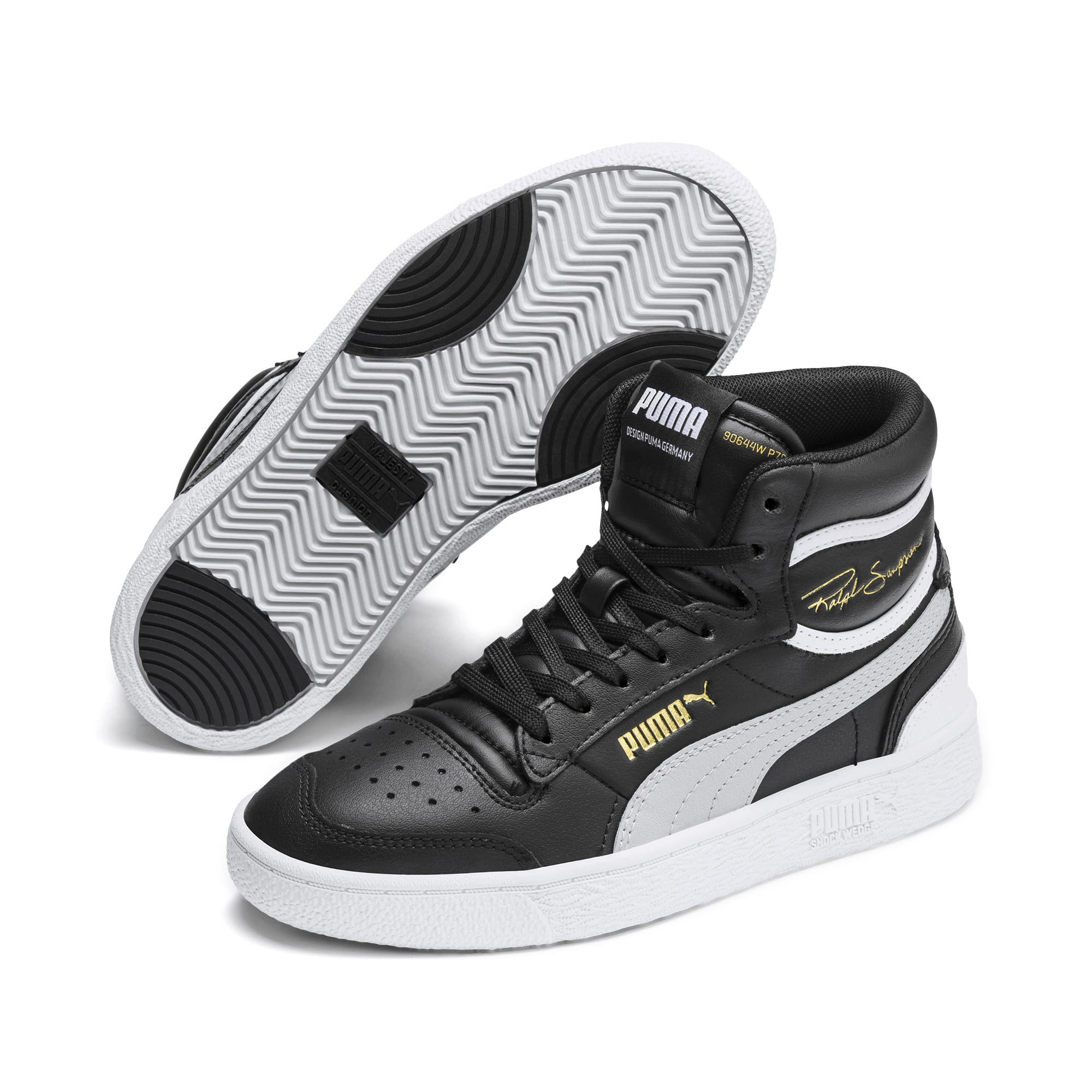 Thumbnail 2 of Ralph Sampson Mid Sneakers JR, Black-Gray Violet-White, medium
