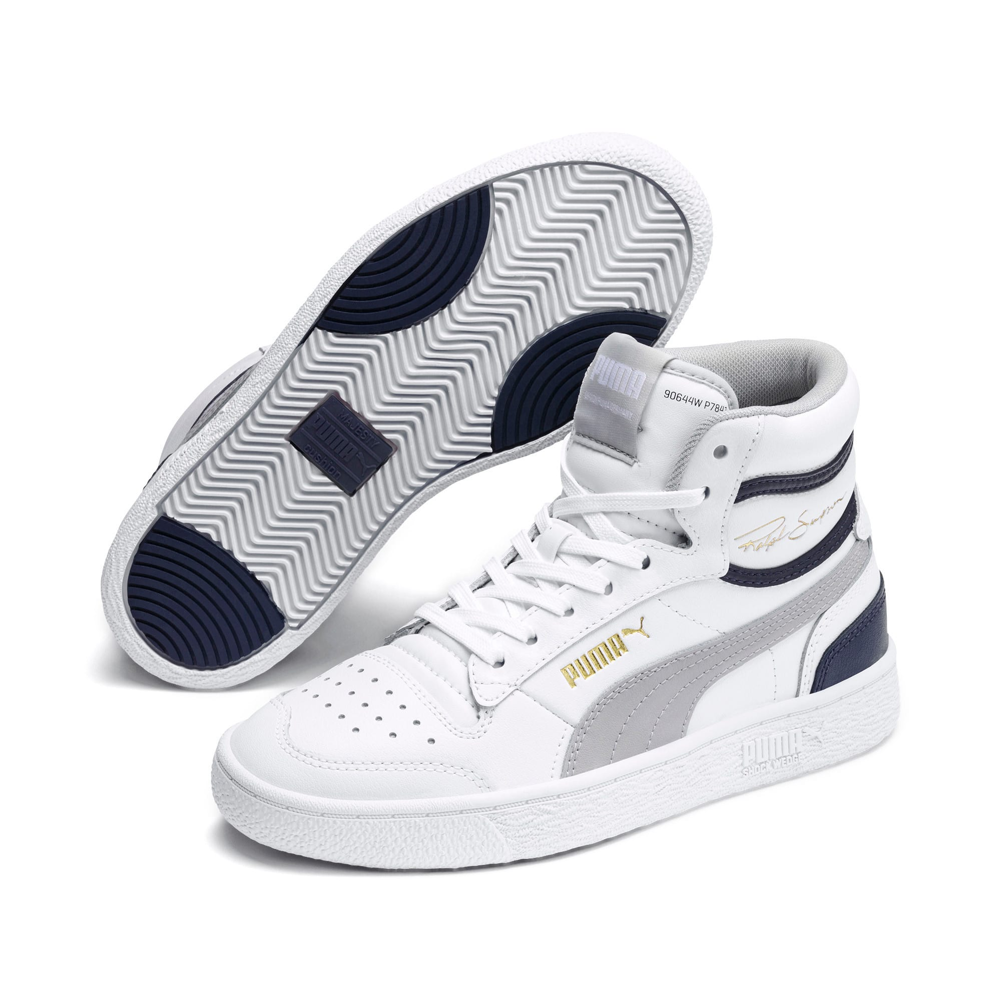 Thumbnail 2 of Ralph Sampson Mid Sneakers JR, White-Gray Violet-Peacoat, medium