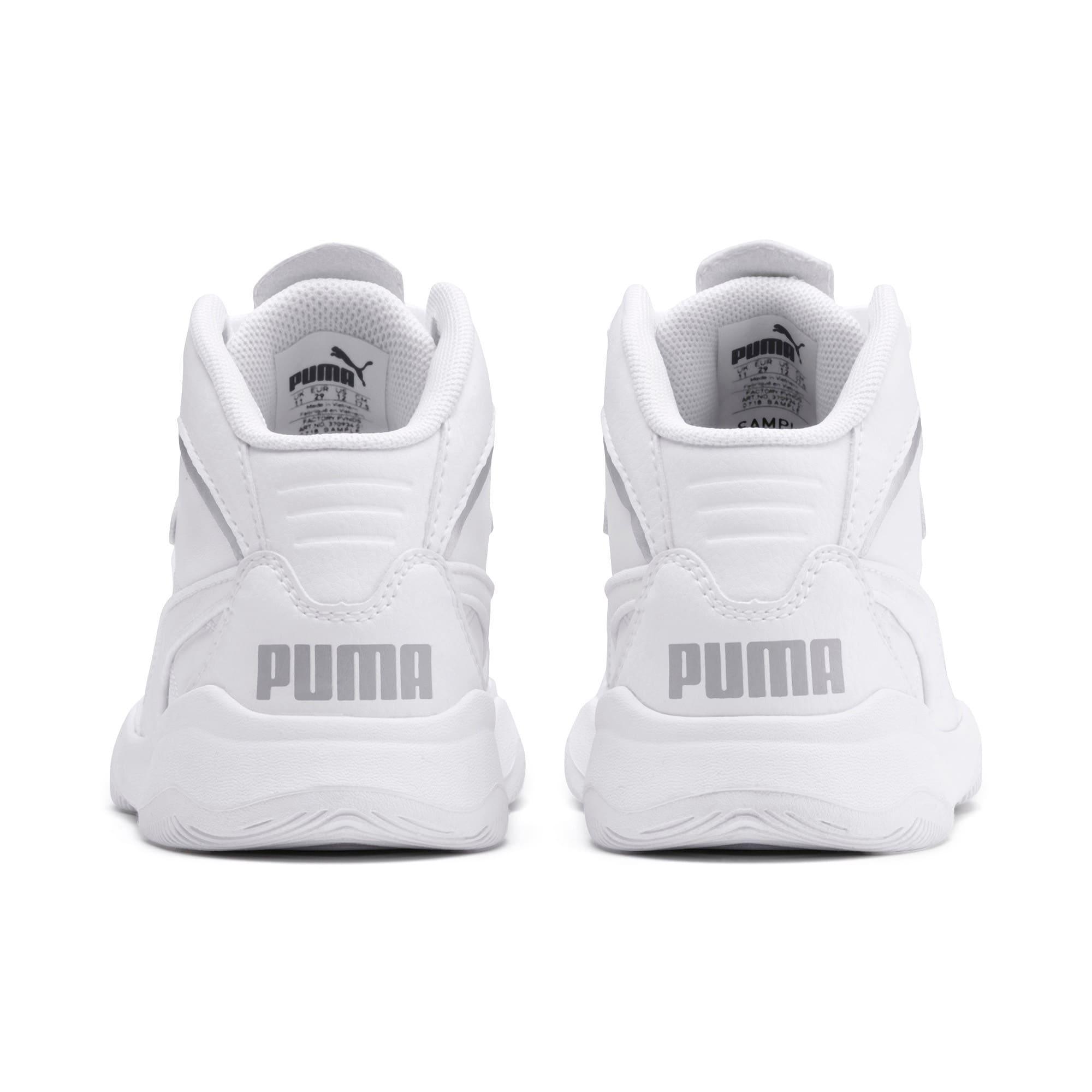 Thumbnail 3 of PUMA Rebound Playoff SL Little Kids' Shoes, Puma White-Puma Silver, medium