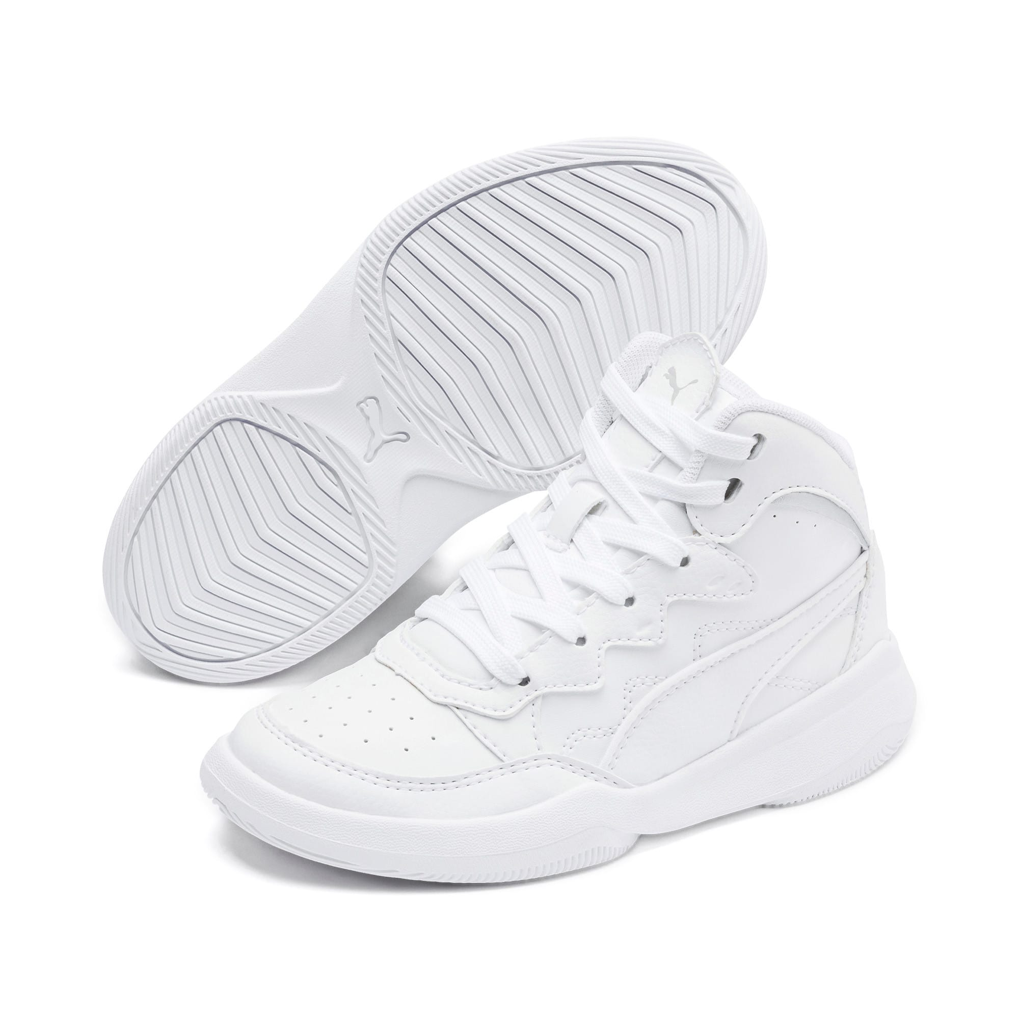 Thumbnail 2 of PUMA Rebound Playoff SL Little Kids' Shoes, Puma White-Puma Silver, medium
