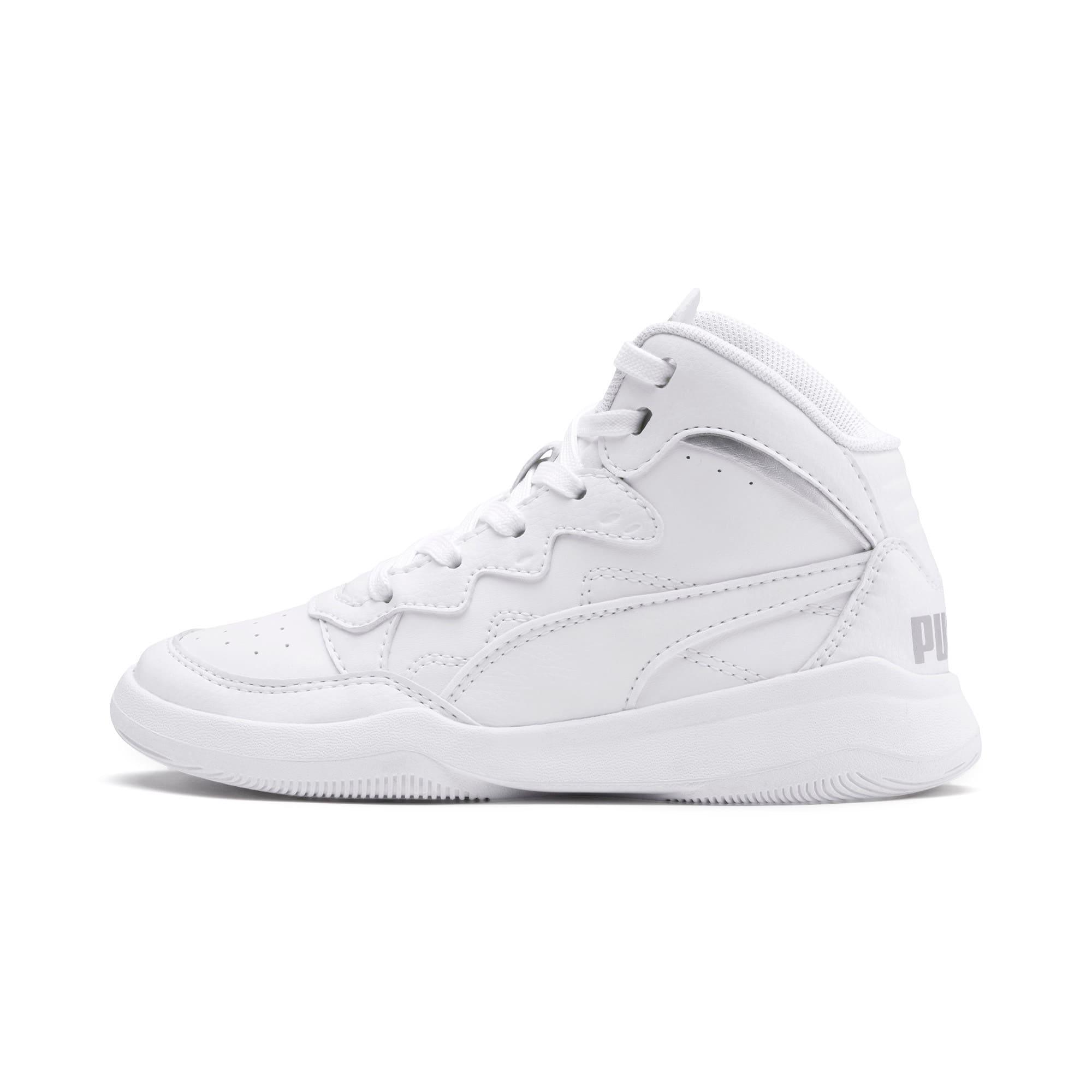 Thumbnail 1 of PUMA Rebound Playoff SL Little Kids' Shoes, Puma White-Puma Silver, medium