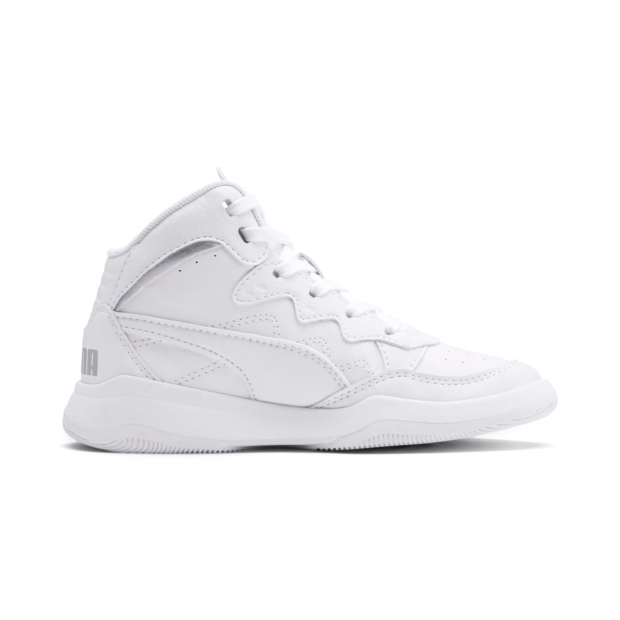 Thumbnail 5 of PUMA Rebound Playoff SL Little Kids' Shoes, Puma White-Puma Silver, medium