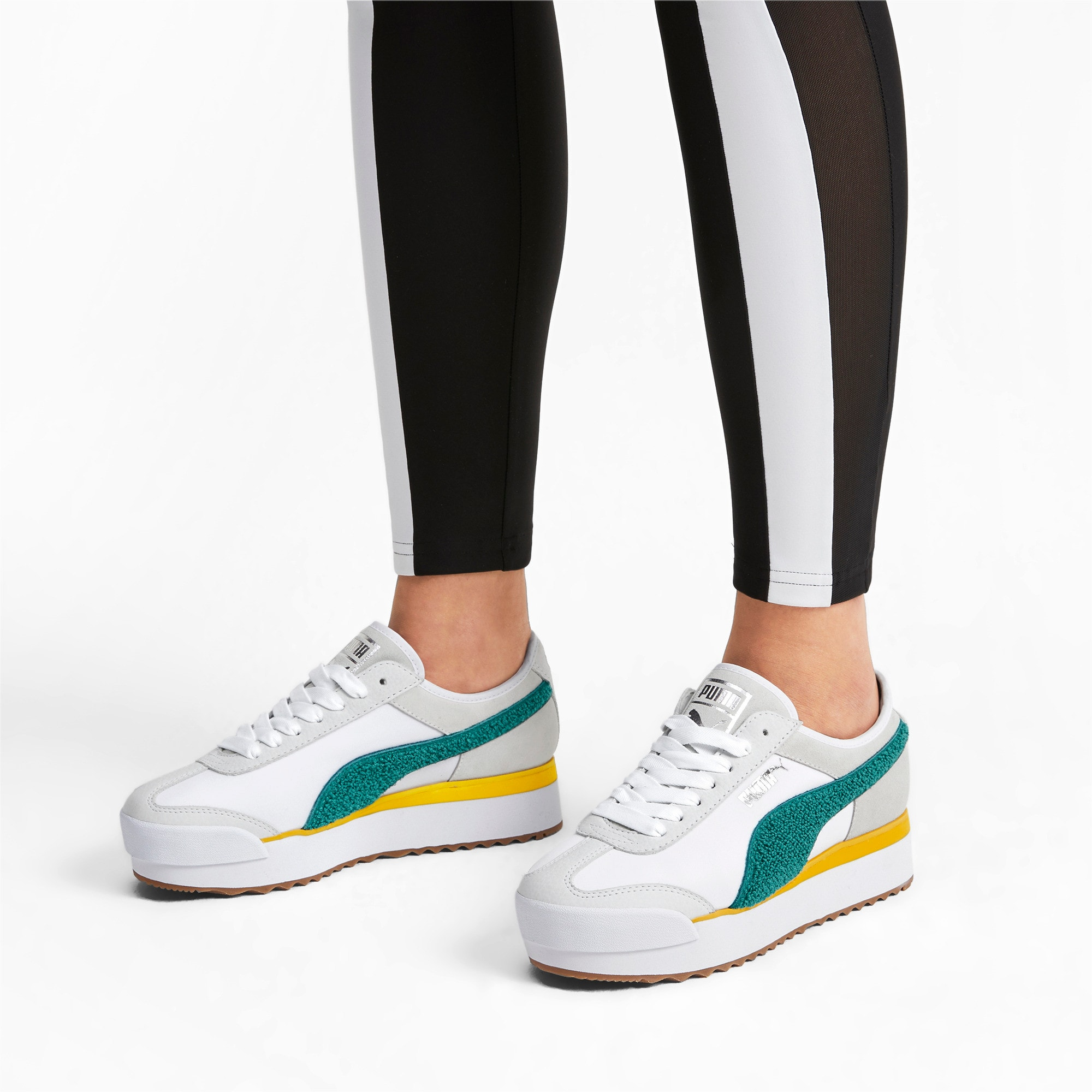 Thumbnail 2 of Roma Amor Heritage Women's Sneakers, Puma White-Teal Green, medium