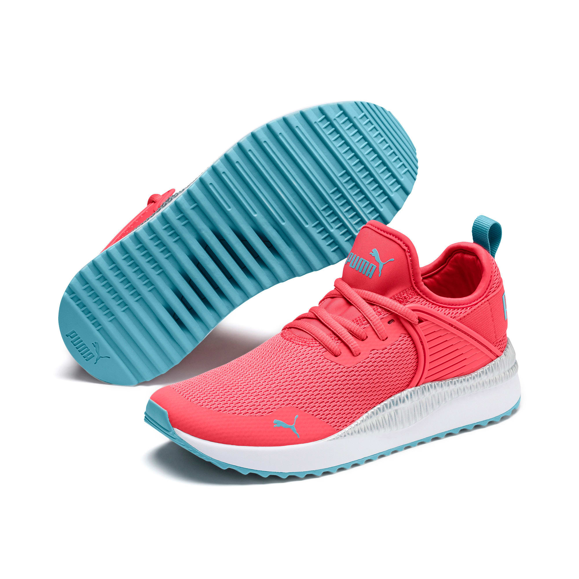 Thumbnail 2 of Pacer Next Cage Metallic Sneakers JR, Calypso Coral-Milky Blue, medium