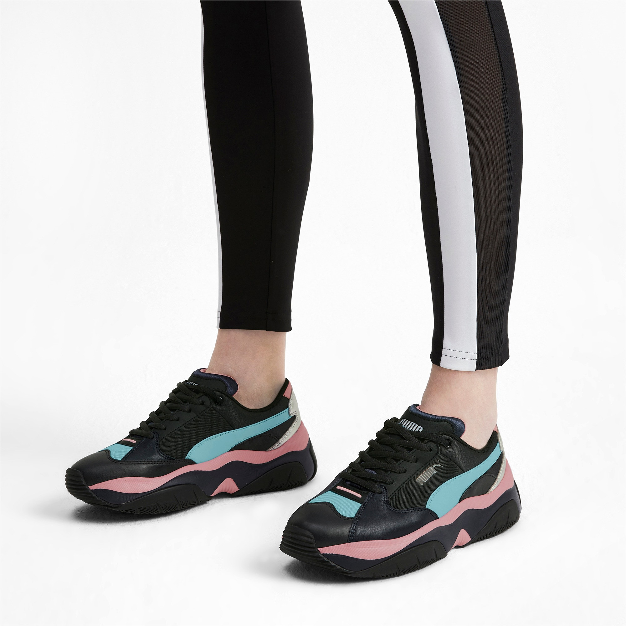 Thumbnail 2 of STORM.Y Metallic Women's Trainers, Puma Black, medium