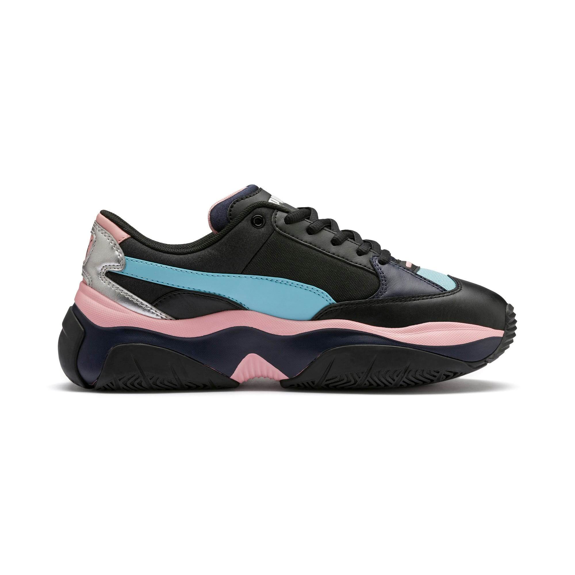 Thumbnail 6 of STORM.Y Metallic Women's Trainers, Puma Black, medium