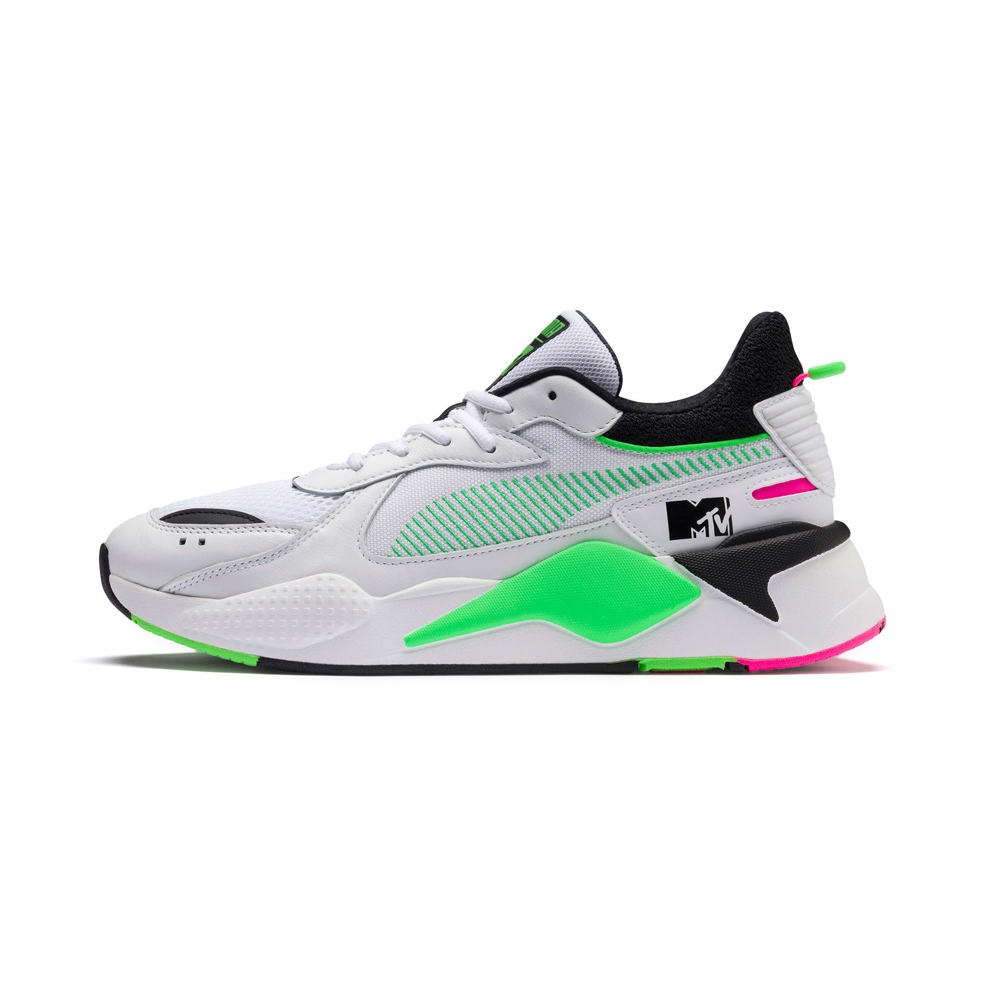 Thumbnail 1 of PUMA x MTV RS-X Tracks Yo! Raps Europe Sneaker, Puma White-802 C Fluro Green, medium