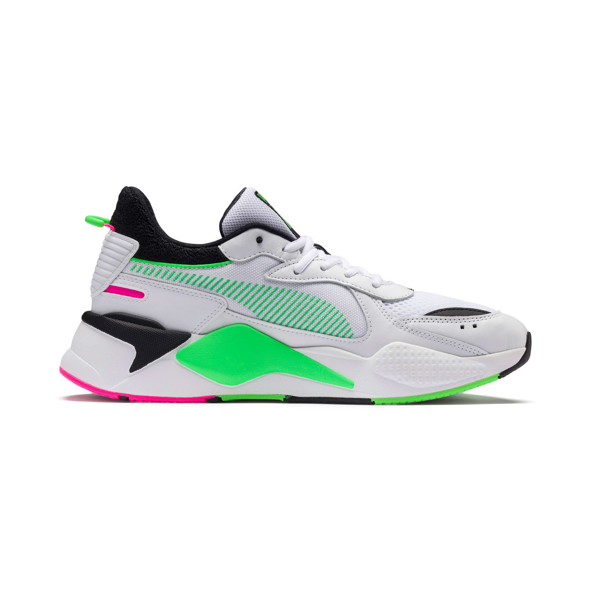 Thumbnail 5 of PUMA x MTV RS-X Tracks Yo! Raps Europe Sneaker, Puma White-802 C Fluro Green, medium