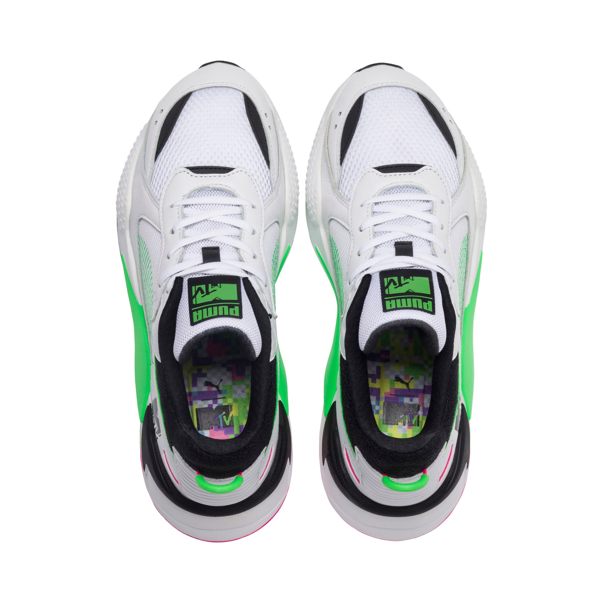 Thumbnail 6 of PUMA x MTV RS-X Tracks Yo! Raps Europe Sneaker, Puma White-802 C Fluro Green, medium