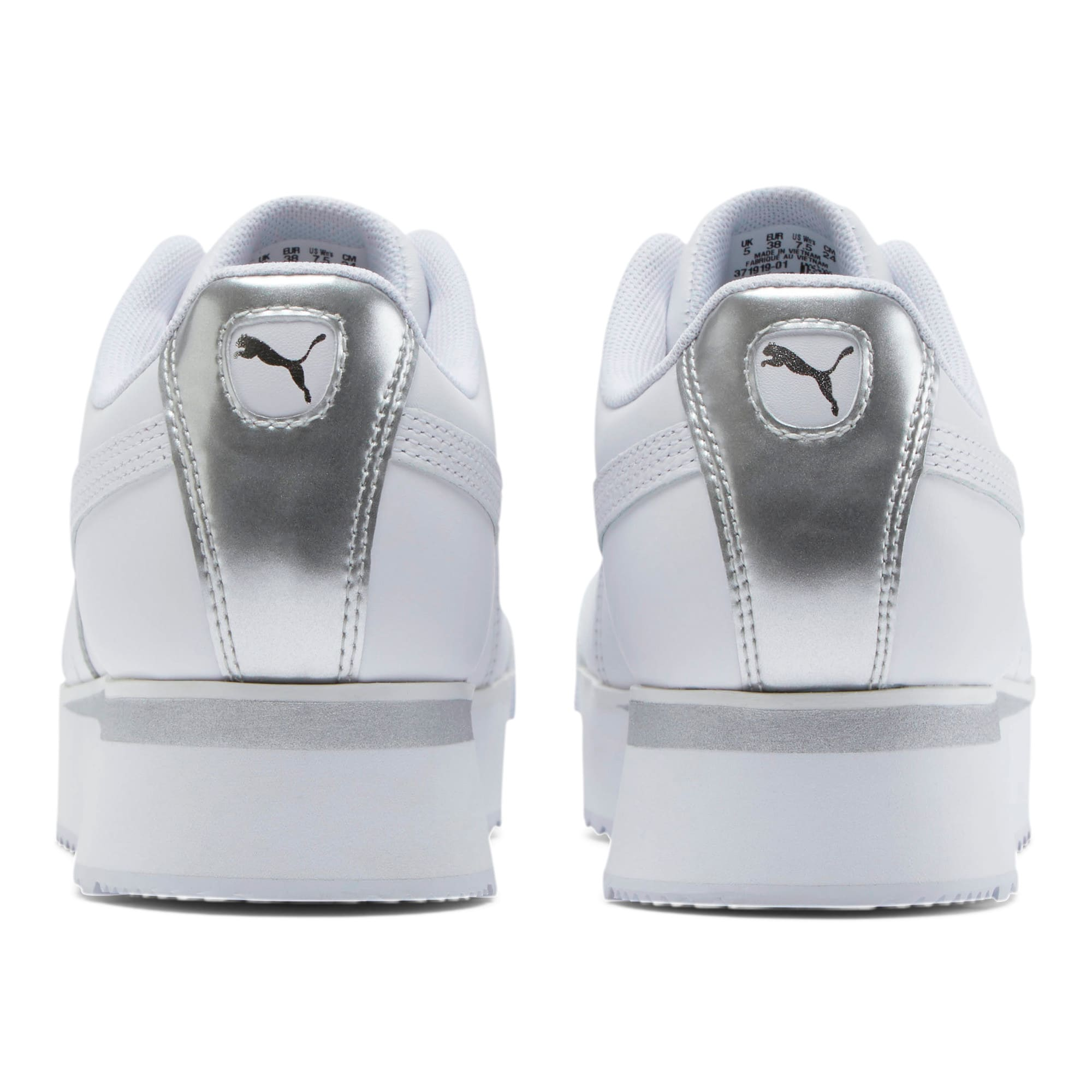 Thumbnail 3 of Roma Amor Leather Metallic Women's Sneakers, White-Whisper White-Silver, medium