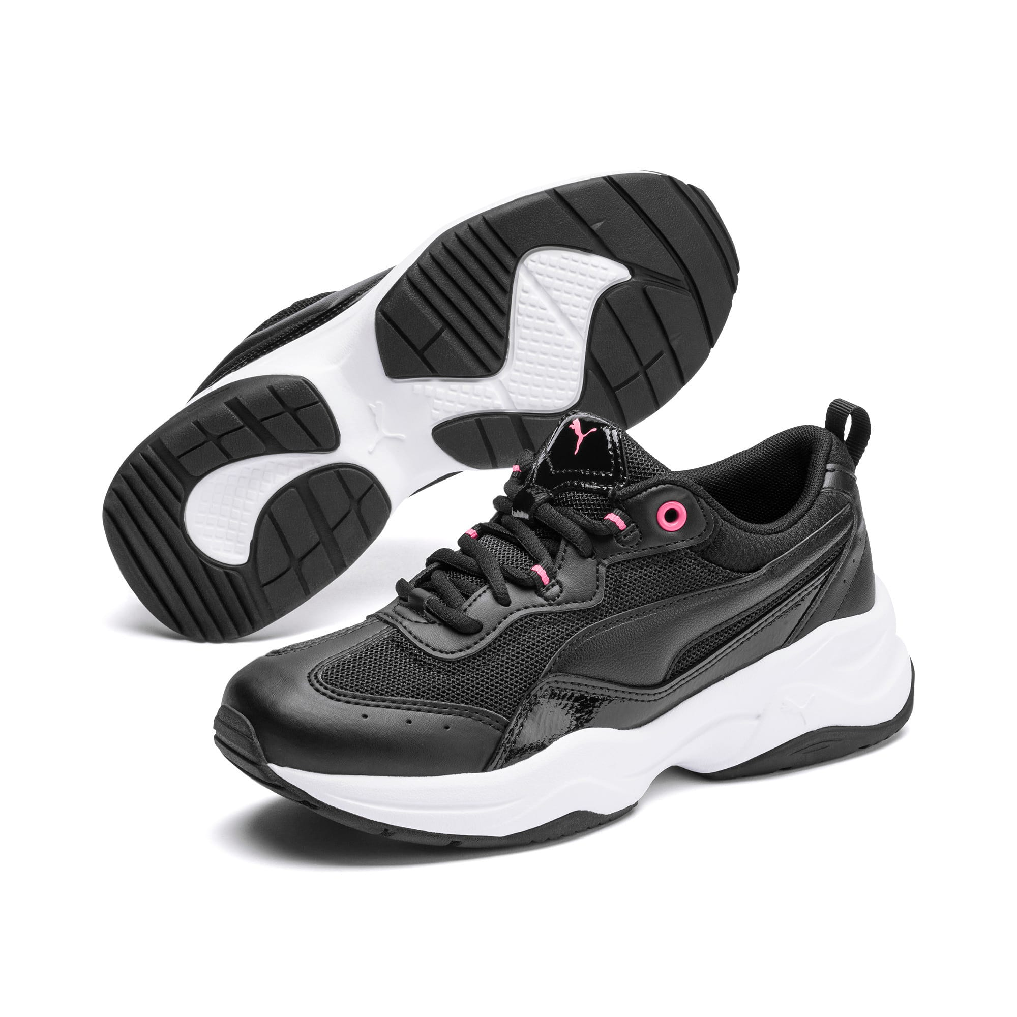 Thumbnail 2 of Cilia Patent Women's Trainers, Black-Pink Glimmer-White, medium