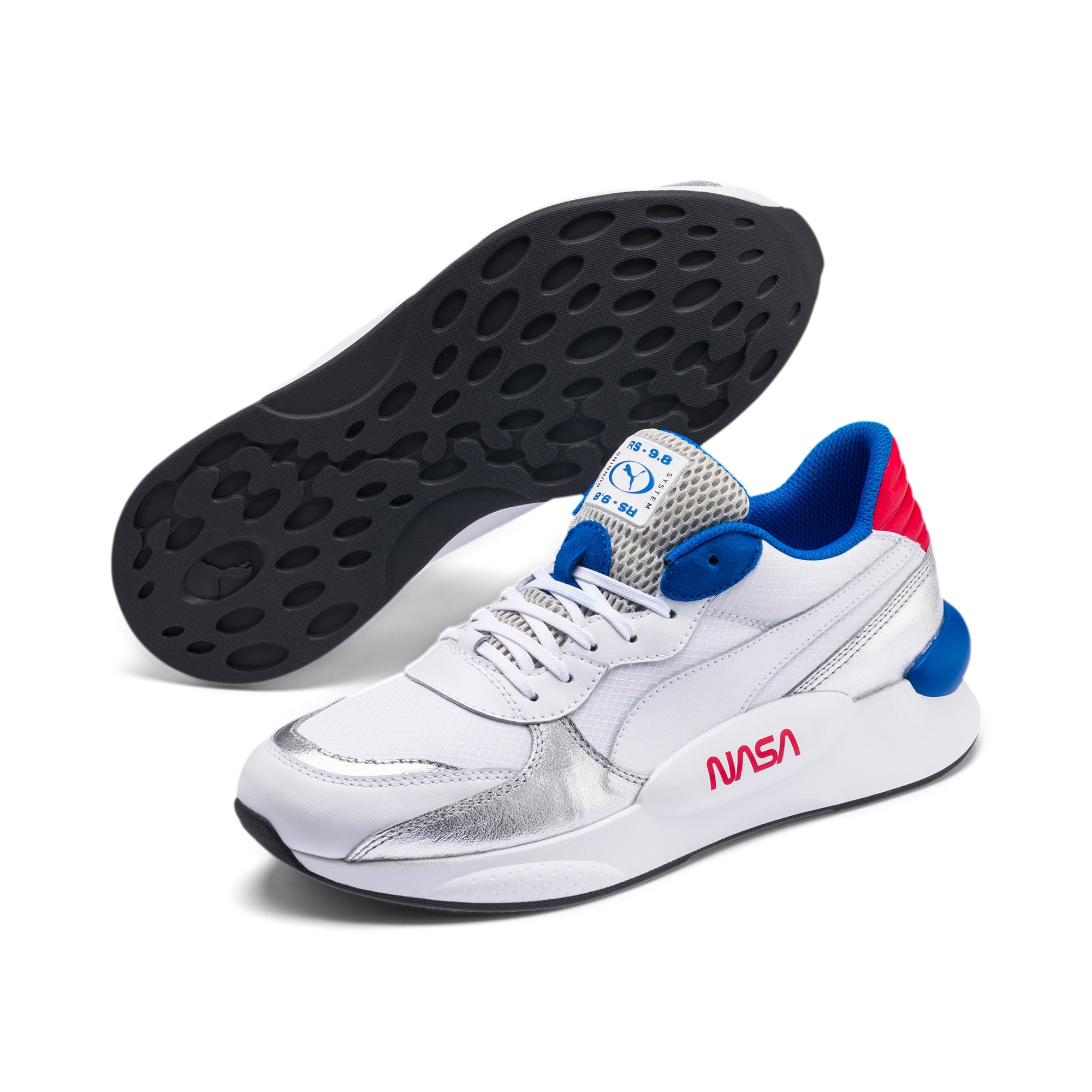 Thumbnail 2 of RS 9.8 Space Explorer Trainers, Puma White-Puma Silver, medium