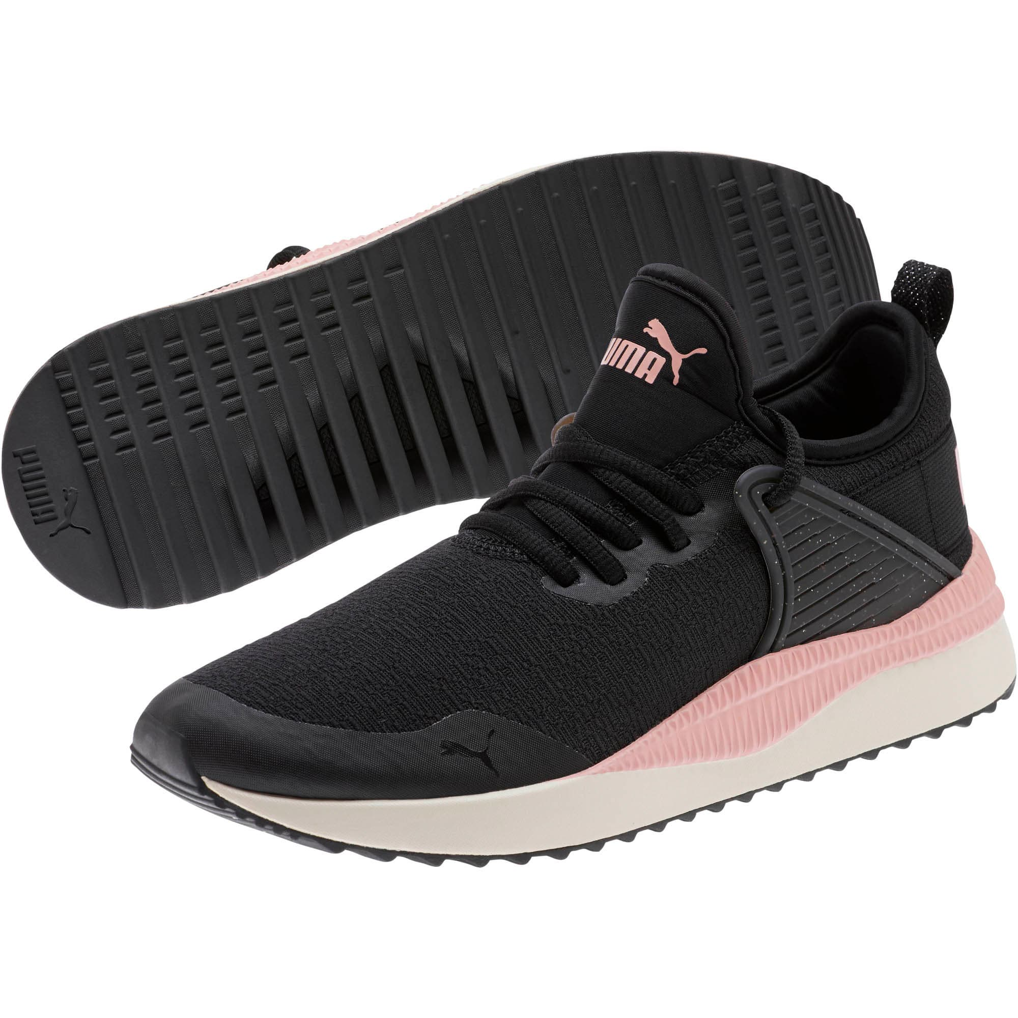 Thumbnail 2 of Pacer Next Cage Glitter Women's Sneakers, Puma Black-Bridal Rose, medium