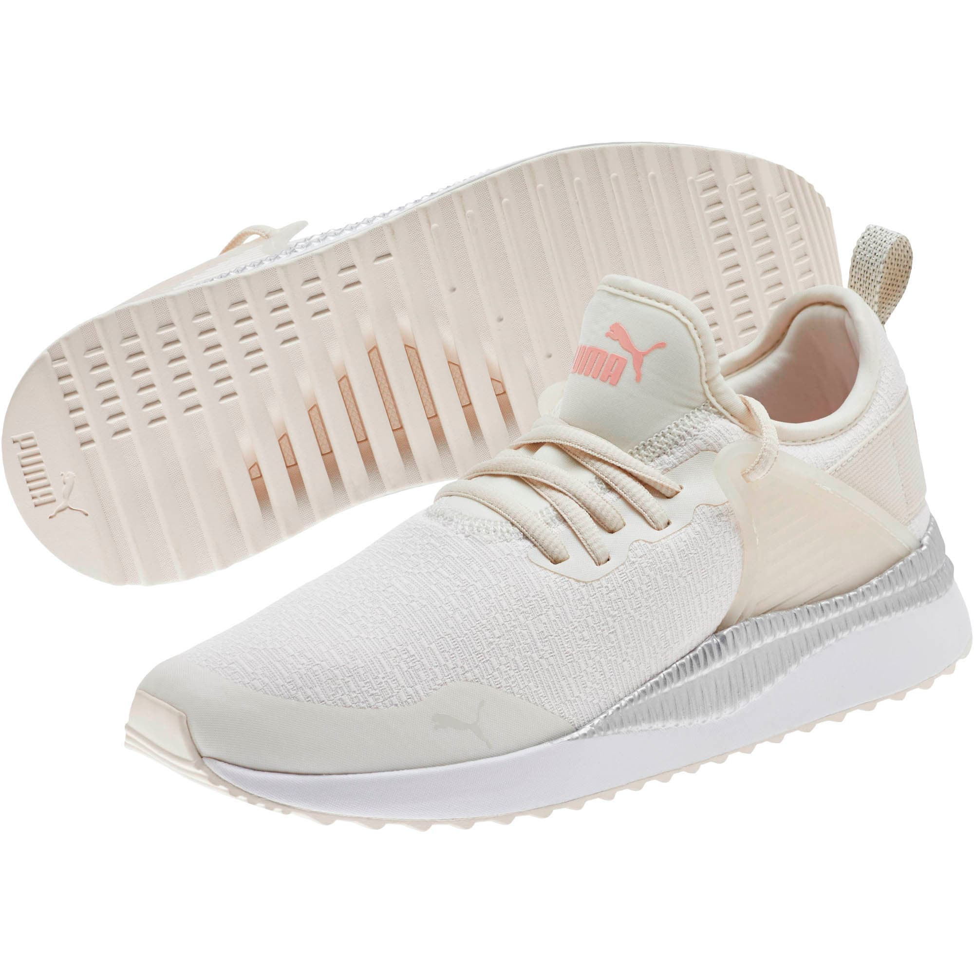 Thumbnail 2 of Pacer Next Cage Glitter Women's Sneakers, Pastel Parchment-Bridal Rose, medium