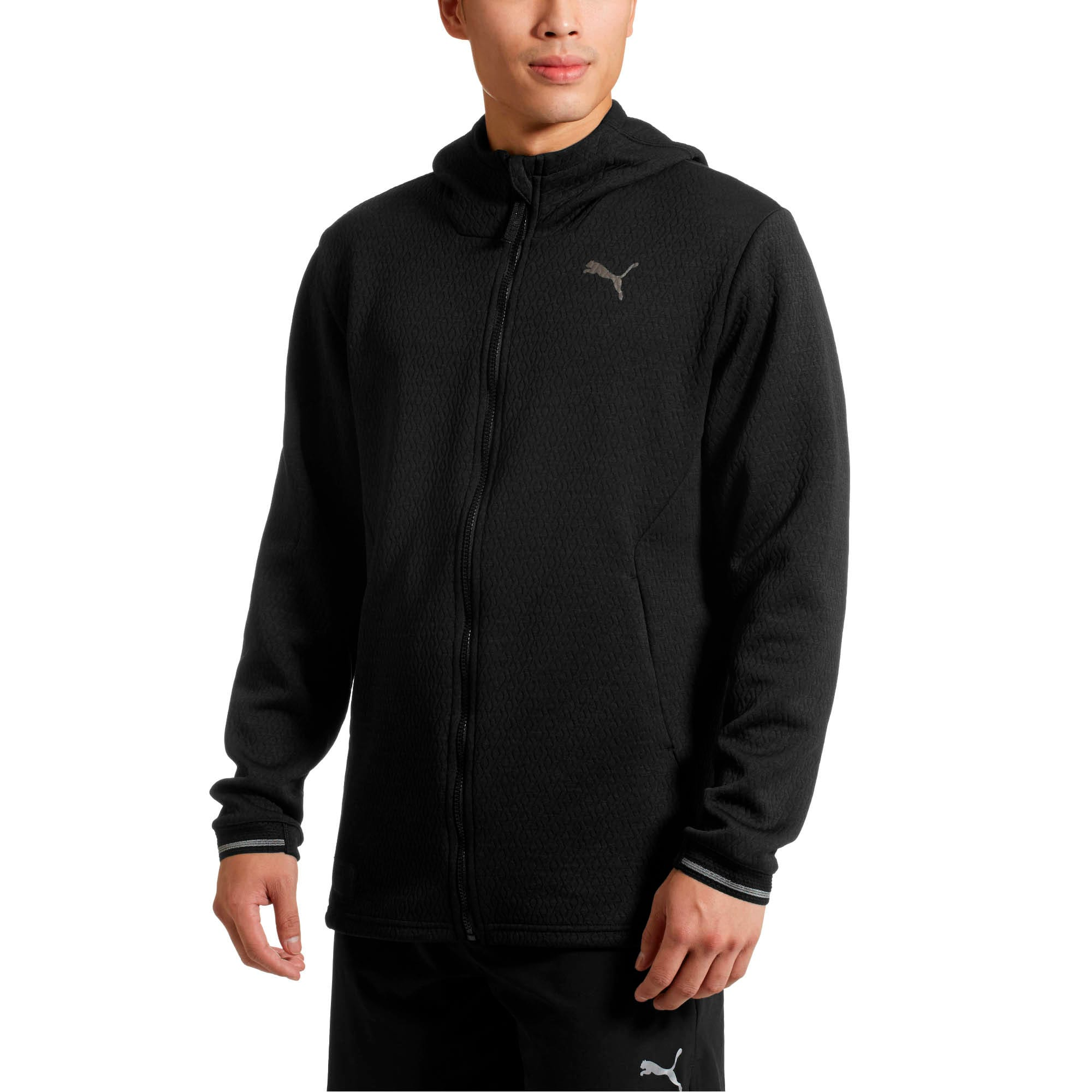 Thumbnail 2 of Energy Zip-Up Hooded Men's Running Jacket, Puma Black Heather, medium