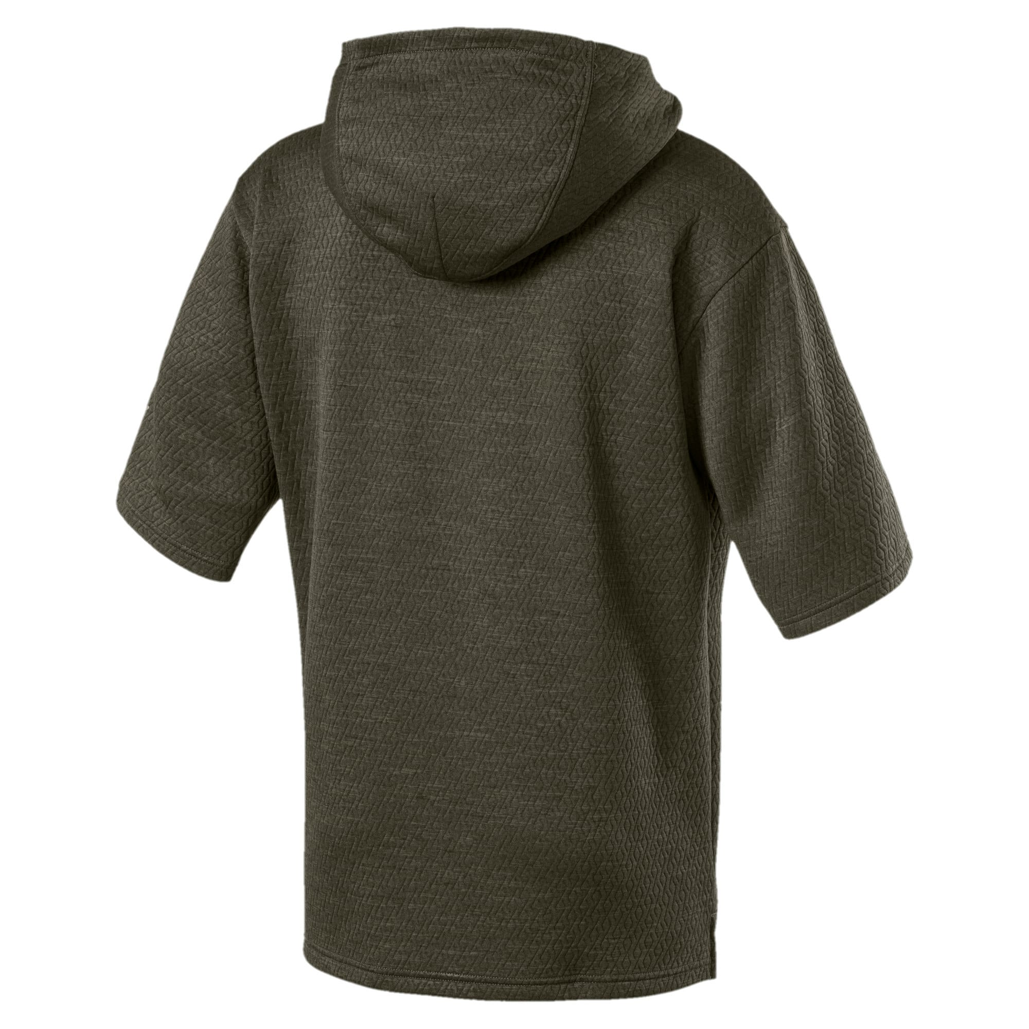 Thumbnail 3 of Training Men's Energy Short Sleeve Hoodie, Forest Night Heather, medium