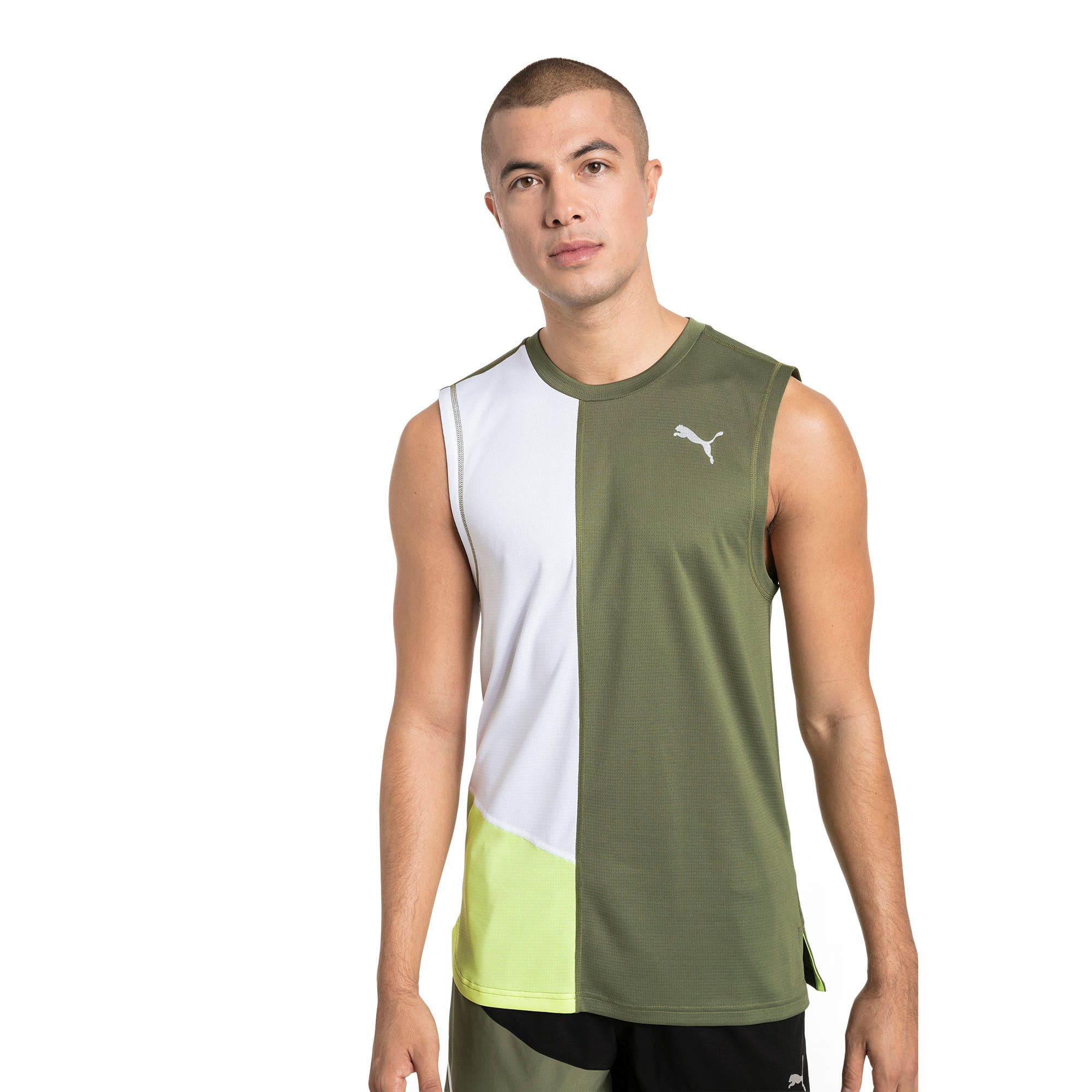 Thumbnail 1 of IGNITE Men's Running Singlet, Olivine-Puma White, medium
