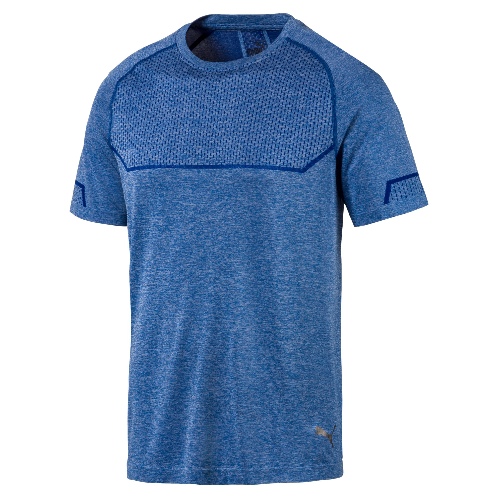 Energy Seamless Men's Training Tee, Galaxy Blue Heather, large