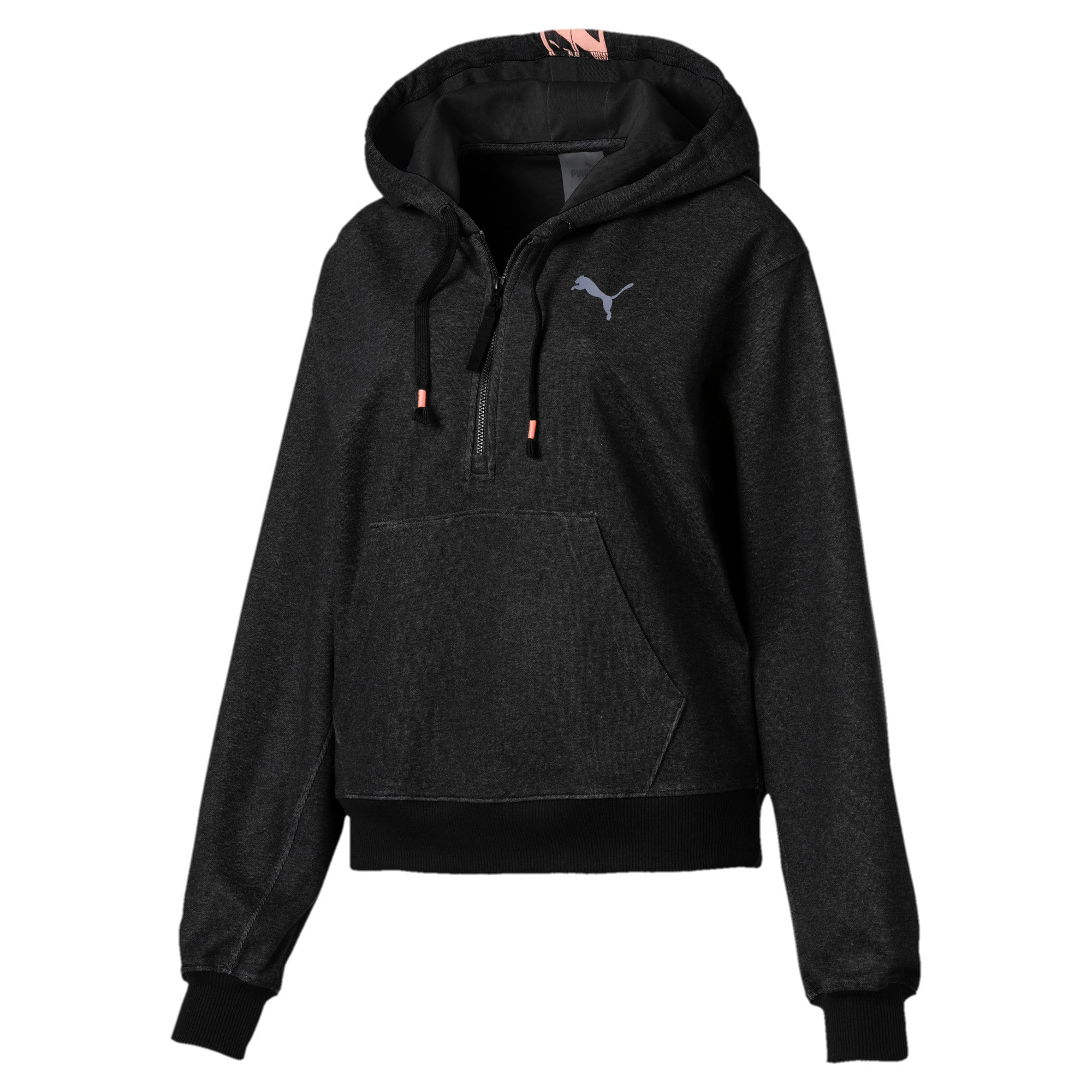 Thumbnail 3 of Feel It Cover Up Women's Half Zip Hoodie, Puma Black Heather, medium