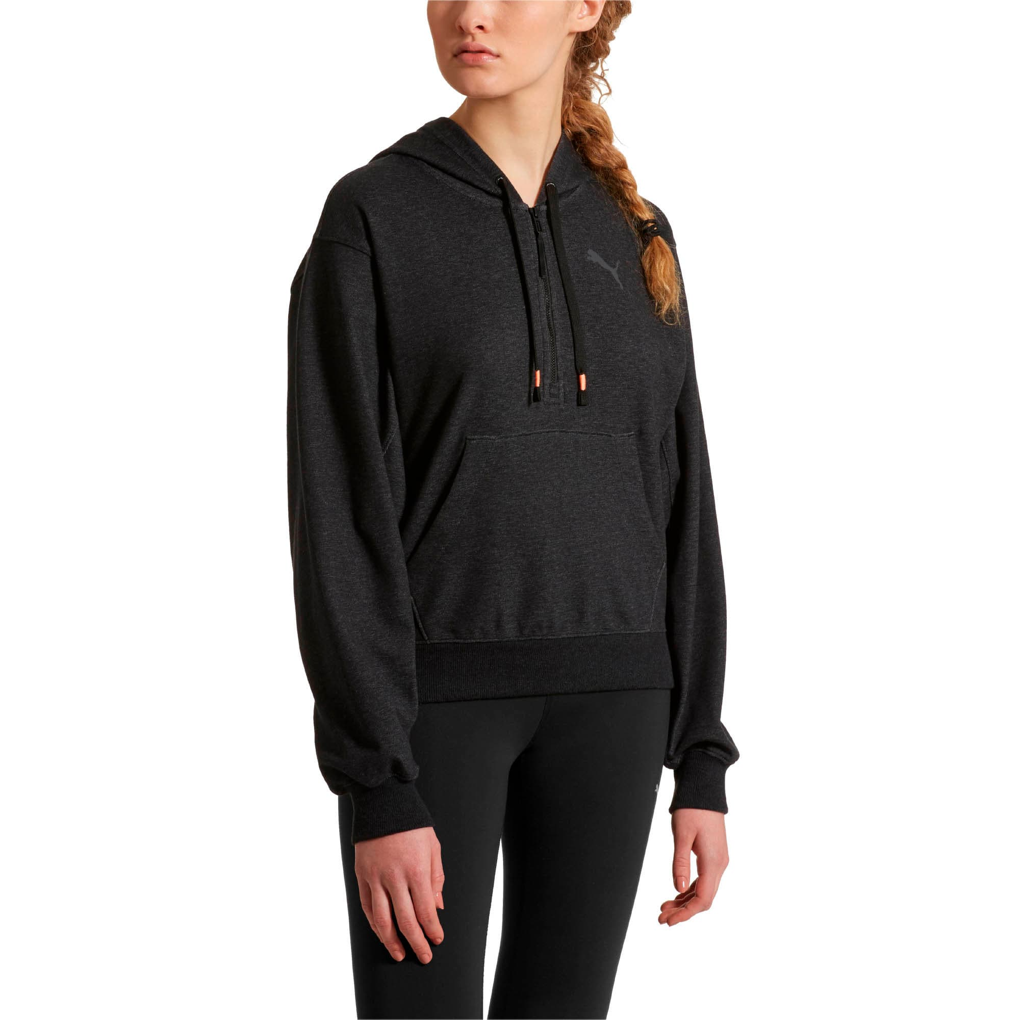 Thumbnail 1 of Feel It Cover Up Women's Half Zip Hoodie, Puma Black Heather, medium