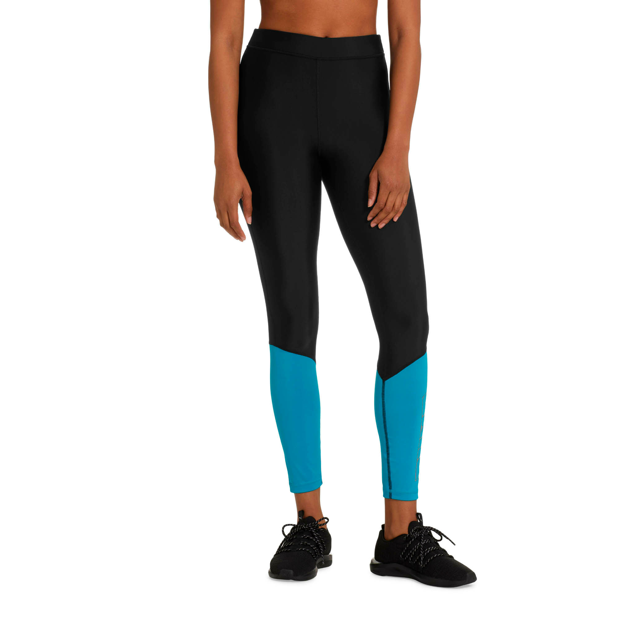 Thumbnail 1 of Aire Women's 7/8 Leggings, Puma Black-Caribbean Sea, medium