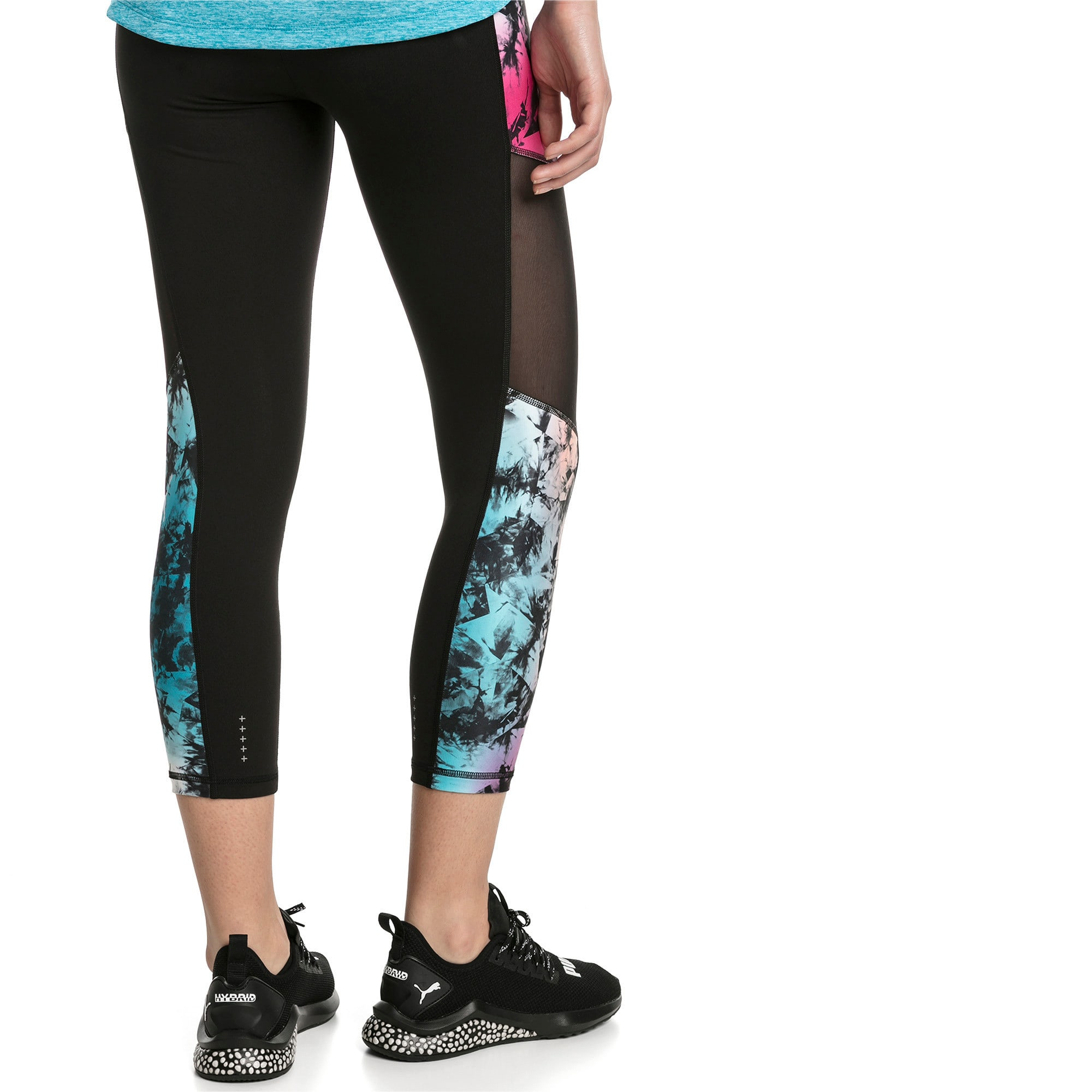 Thumbnail 2 of Ignite 3/4 Graphic Women's Tights, Puma Black-Multi-Q2 Print, medium