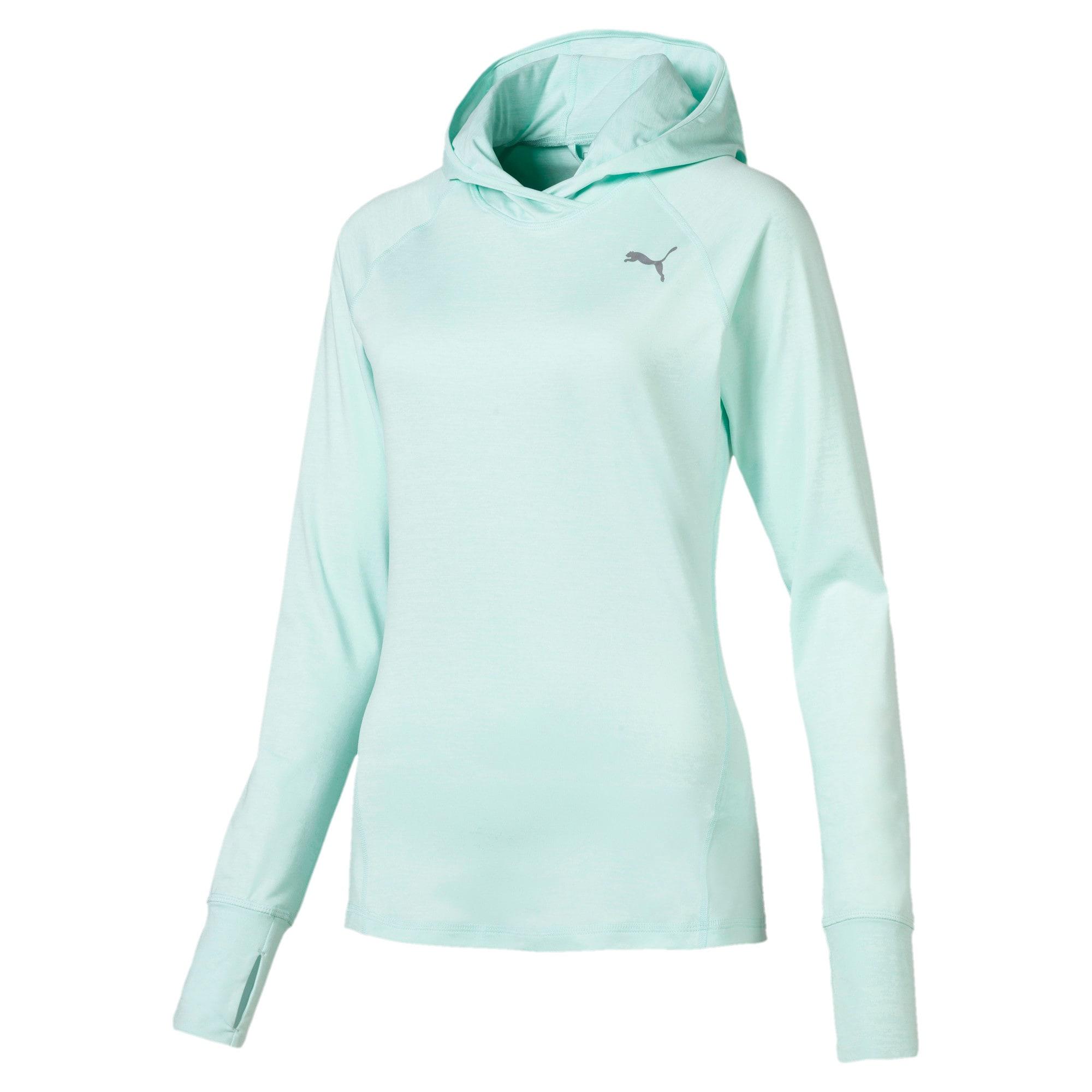 Thumbnail 4 of IGNITE Damen Running Kapuzen-Langarm-Shirt, Fair Aqua Heather, medium