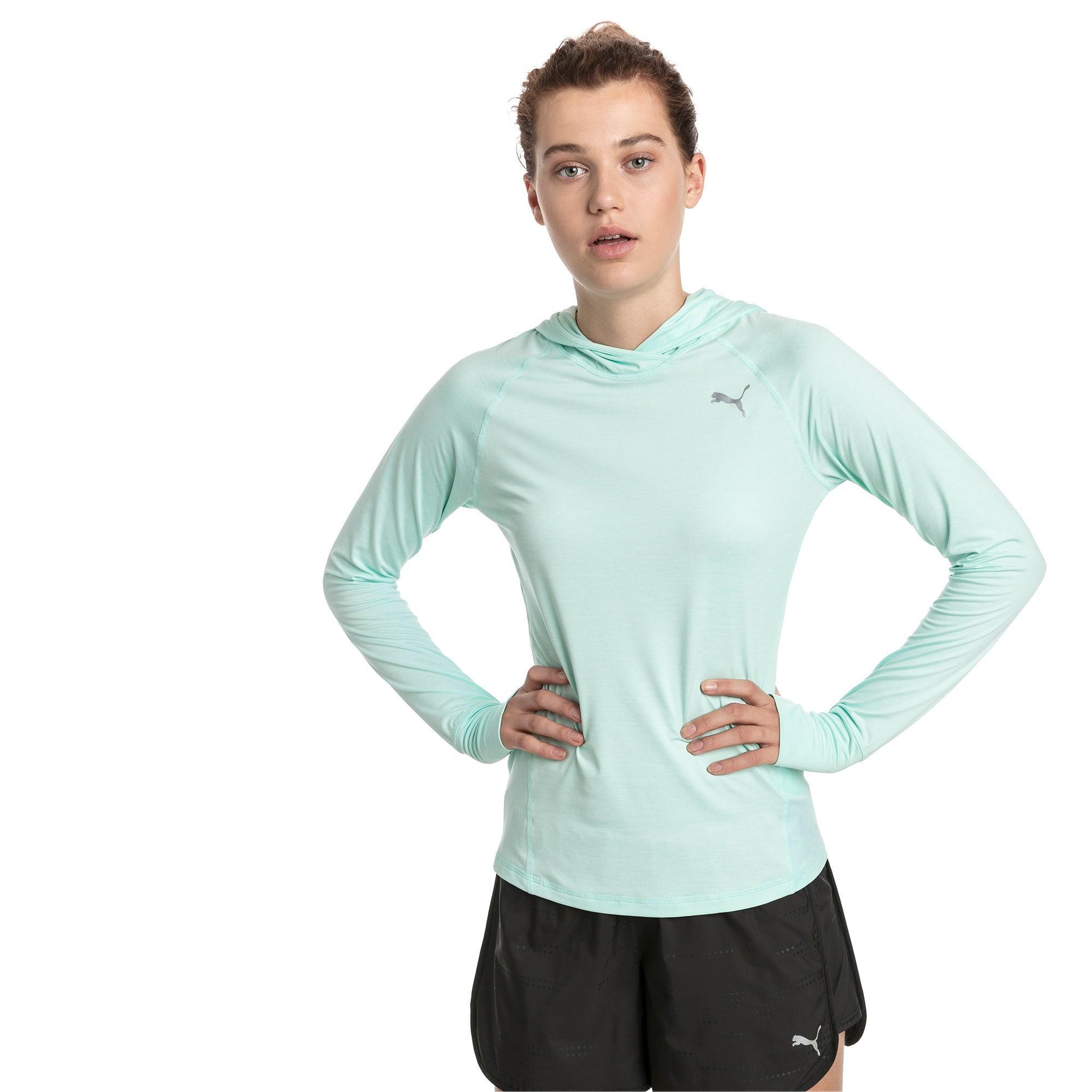 Thumbnail 1 of IGNITE Damen Running Kapuzen-Langarm-Shirt, Fair Aqua Heather, medium