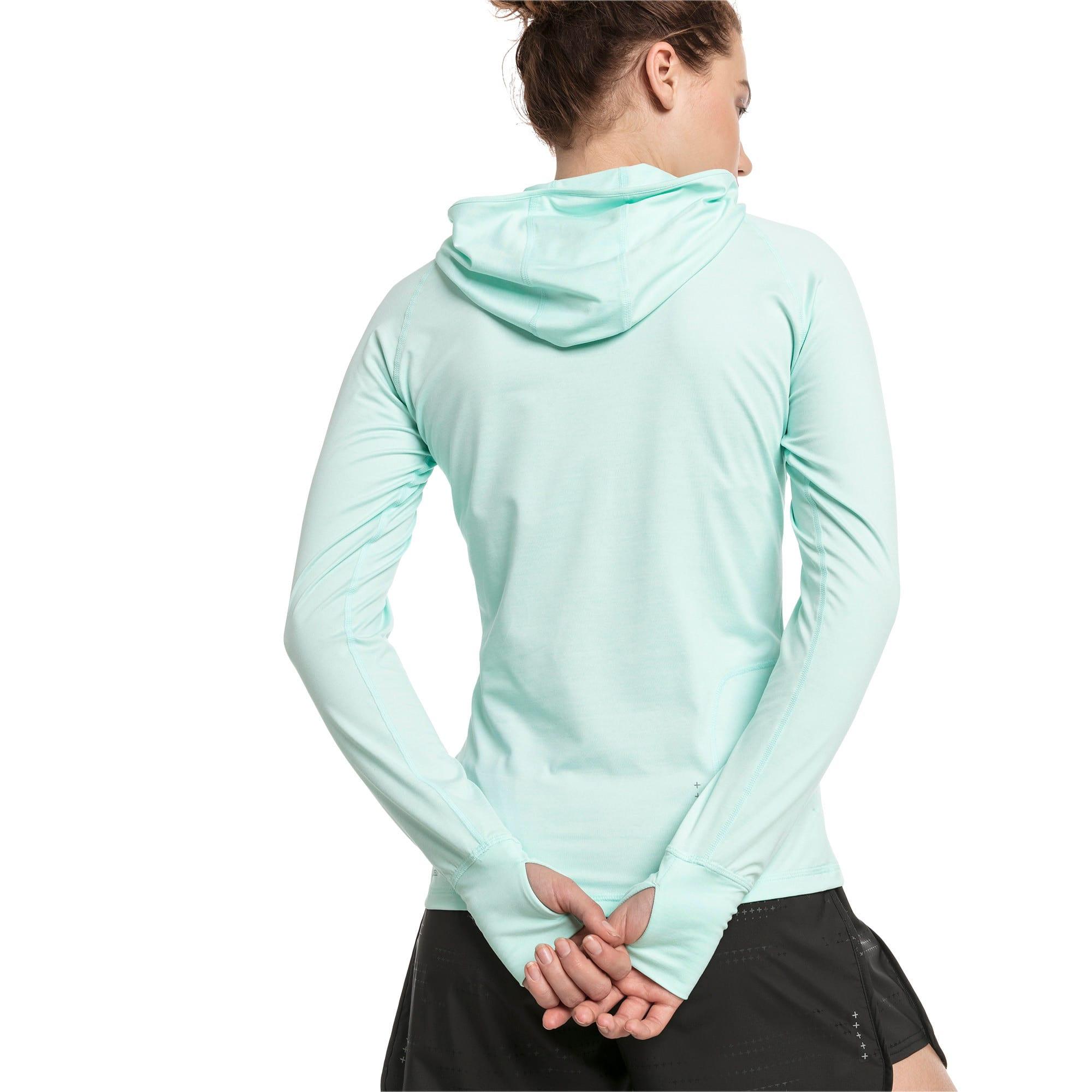 Thumbnail 2 of IGNITE Damen Running Kapuzen-Langarm-Shirt, Fair Aqua Heather, medium
