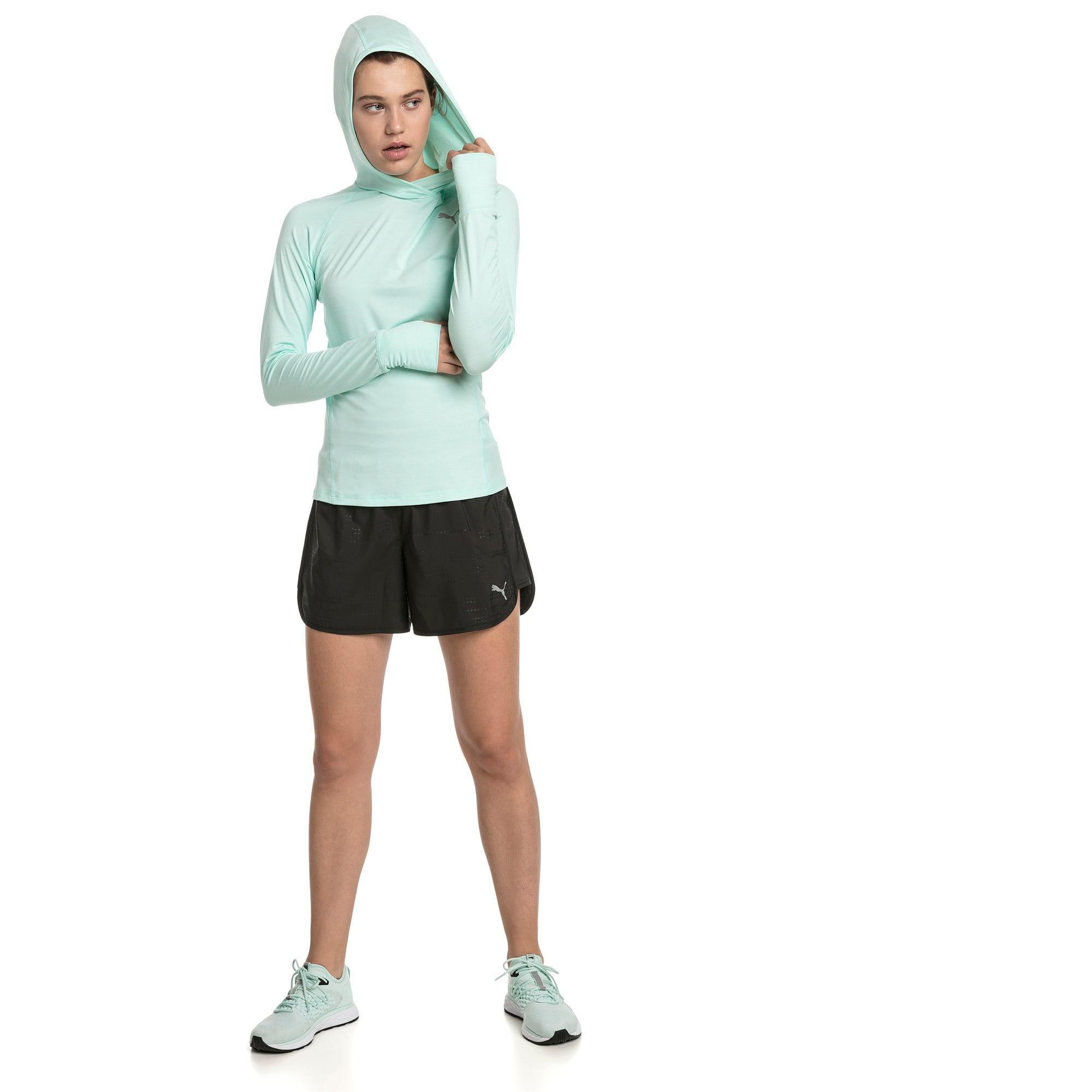 Thumbnail 3 of IGNITE Damen Running Kapuzen-Langarm-Shirt, Fair Aqua Heather, medium