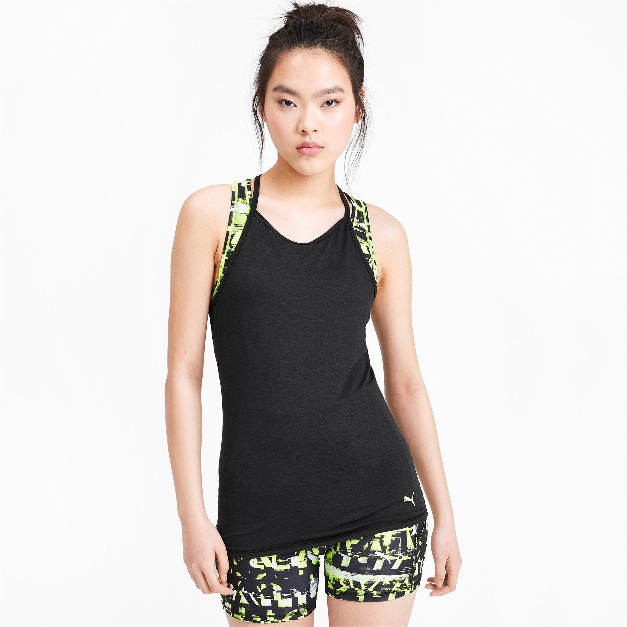 Miniatura 1 de Camiseta sin mangas Studio con espalda deportiva para mujer, Puma Black Heather, mediano