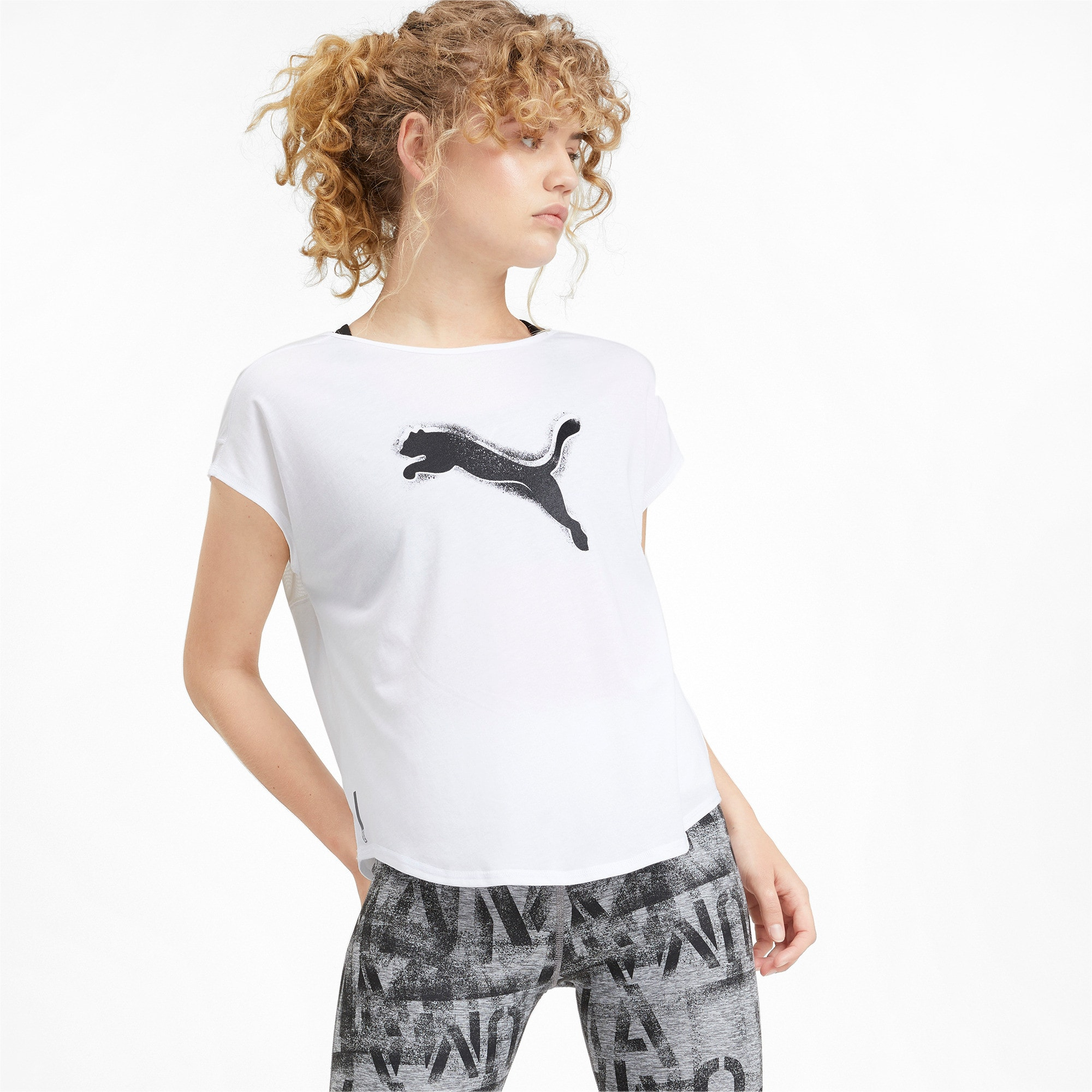 Thumbnail 1 of Studio Mesh Cat Damen Training T-Shirt, Puma White, medium