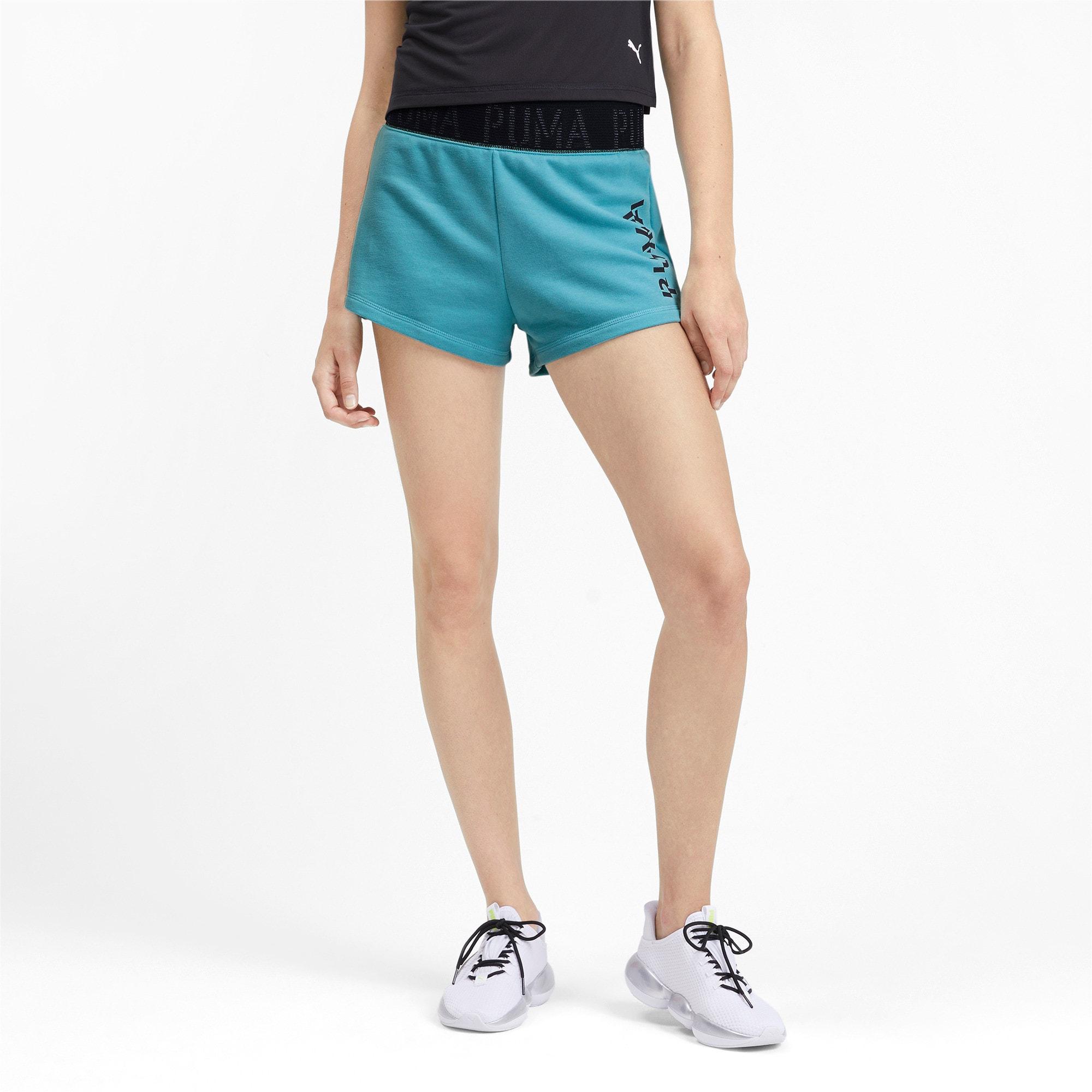 Miniatura 2 de Shorts con logo para mujer, Milky Blue Heather, mediano