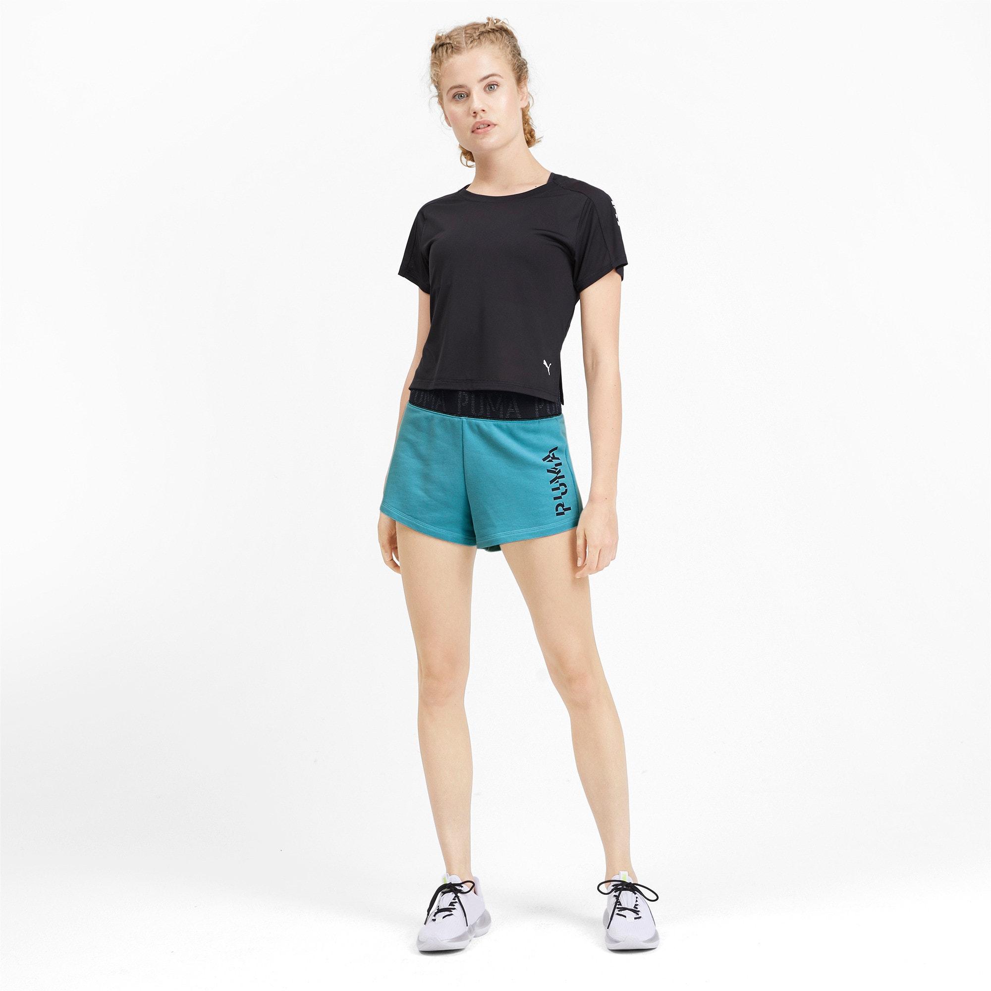 Miniatura 4 de Shorts con logo para mujer, Milky Blue Heather, mediano