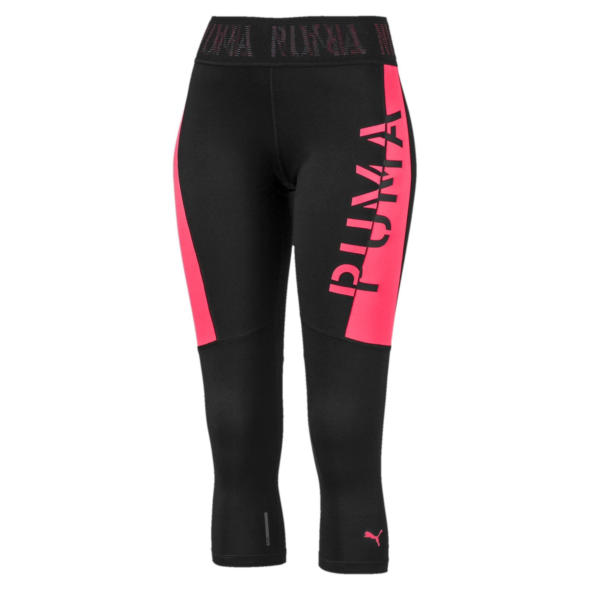 Thumbnail 1 of Logo Women's 3/4 Leggings, Puma Black-Pink Alert, medium