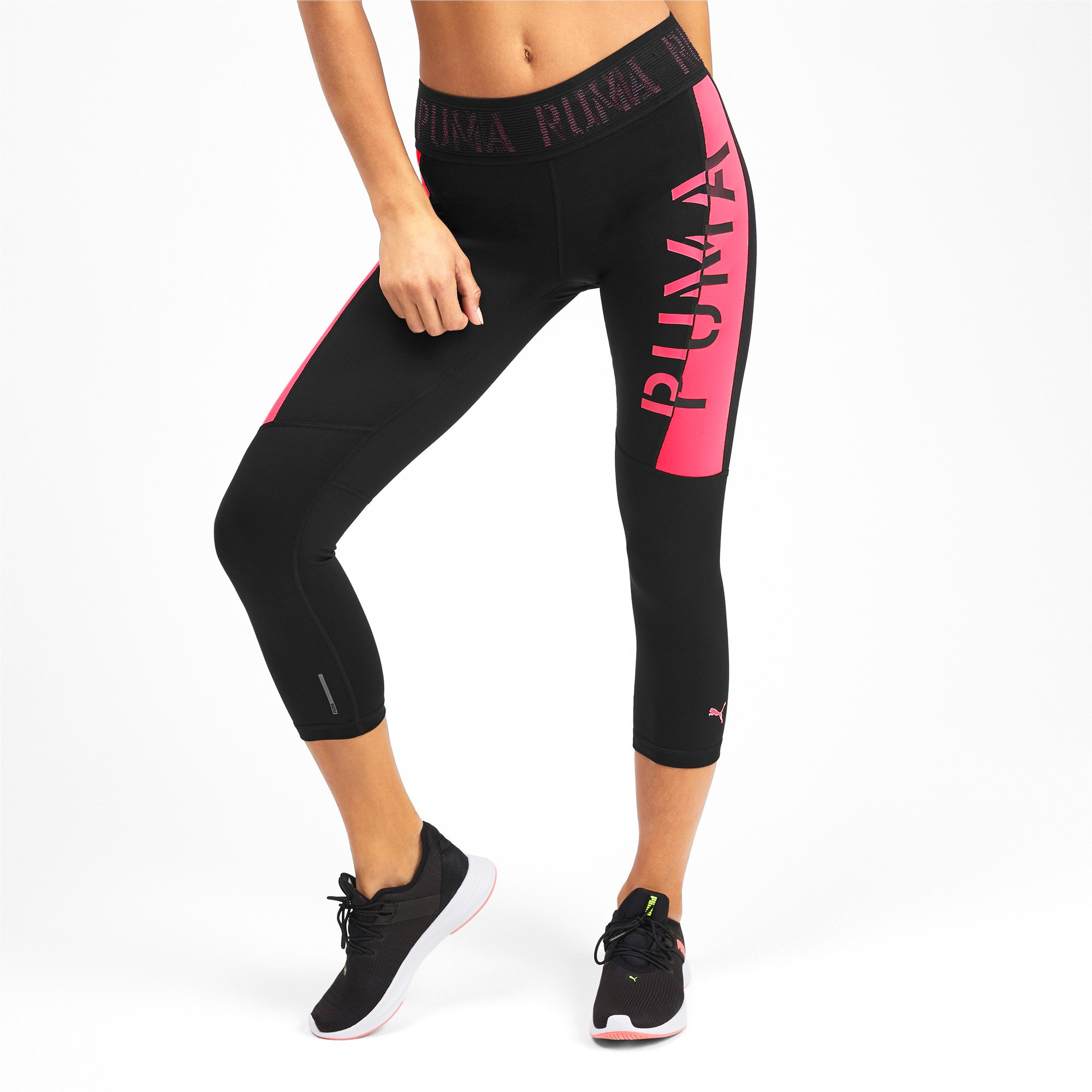 Thumbnail 2 of Logo Women's 3/4 Leggings, Puma Black-Pink Alert, medium