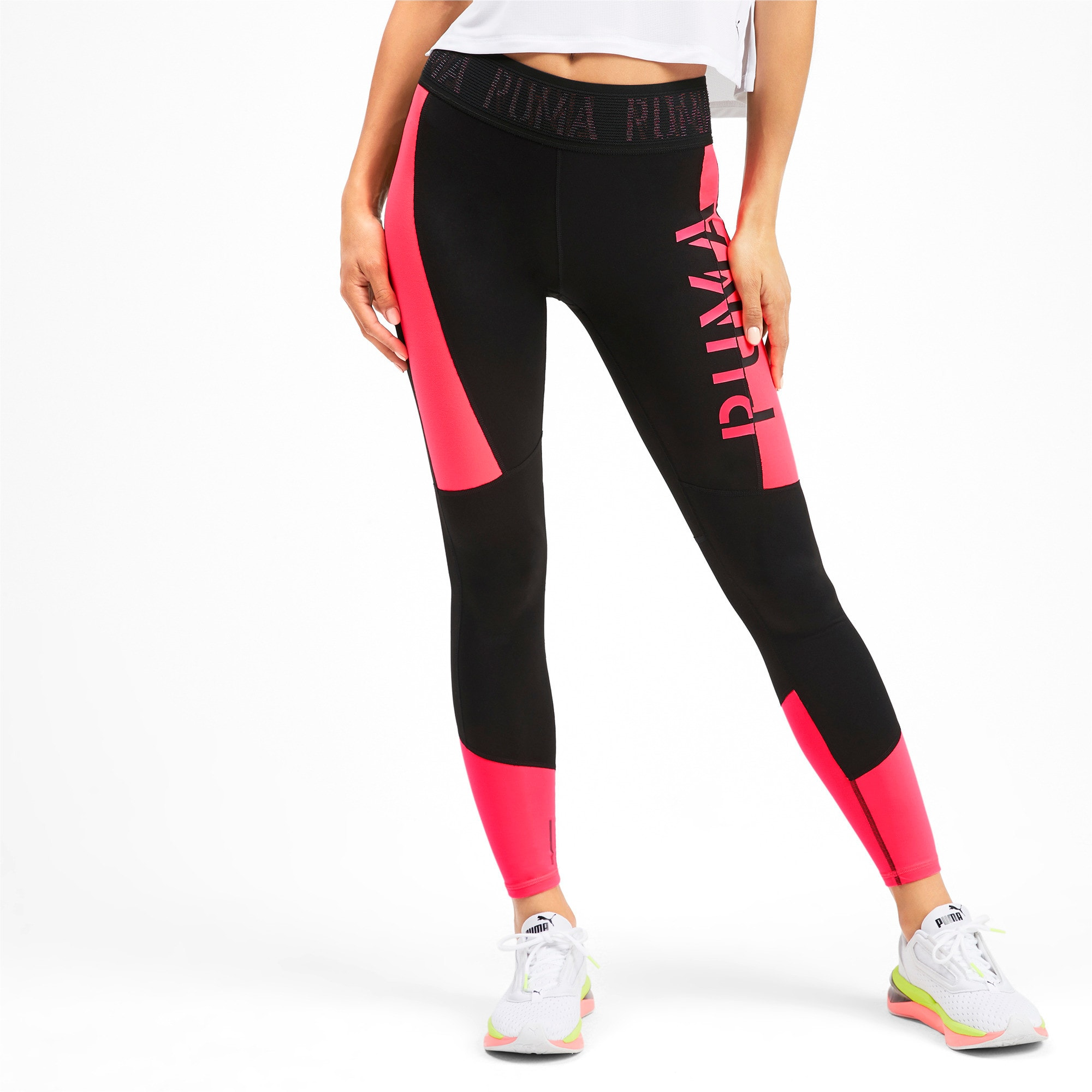 Thumbnail 1 of Logo Women's 7/8 Leggings, Puma Black-Pink Alert, medium