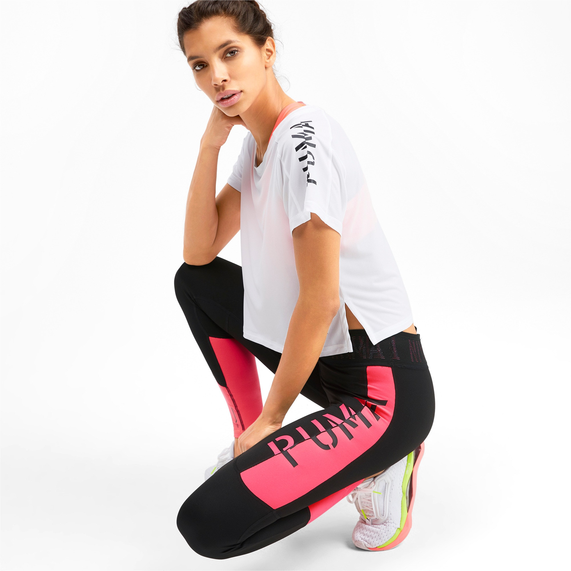 Thumbnail 3 of Logo Women's 7/8 Leggings, Puma Black-Pink Alert, medium