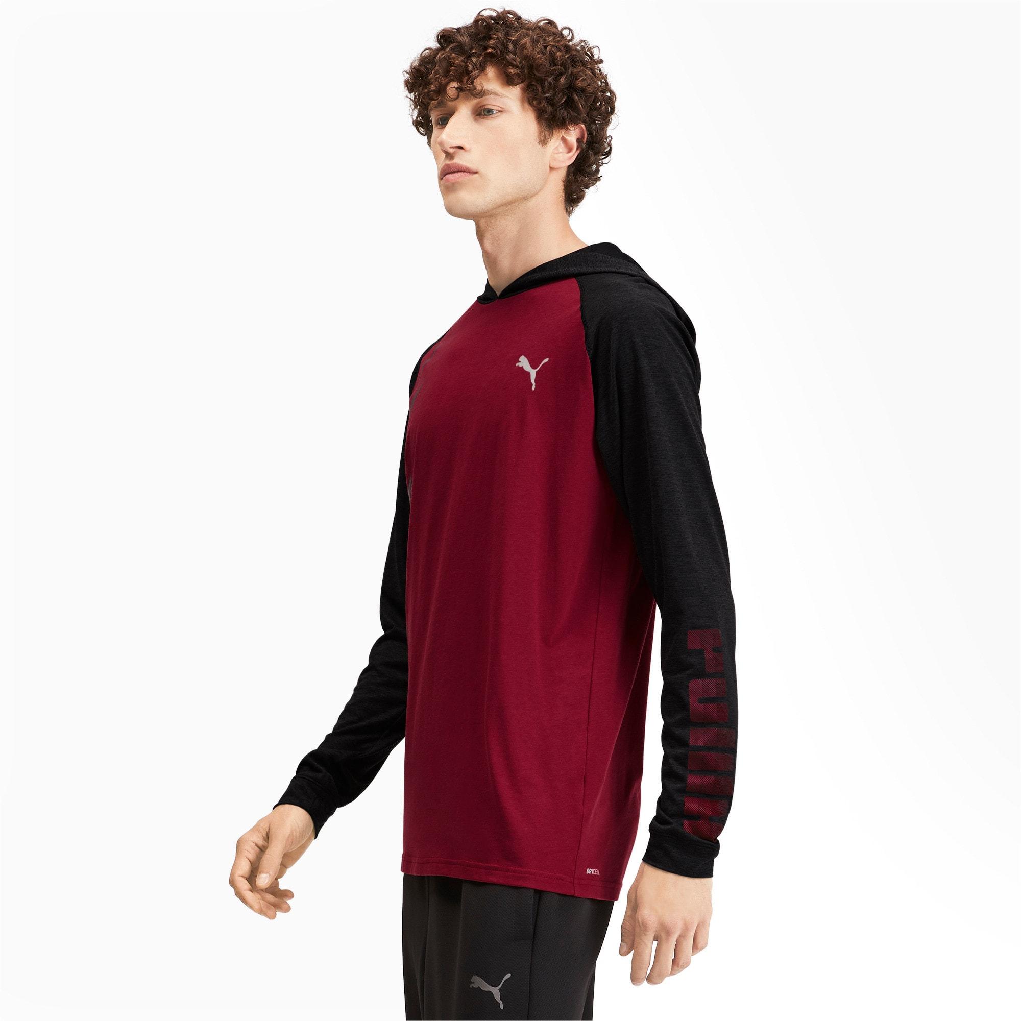 Miniatura 2 de Camiseta Collective con capucha y mangas largas para hombre, Rhubarb-Puma Black Heather, mediano