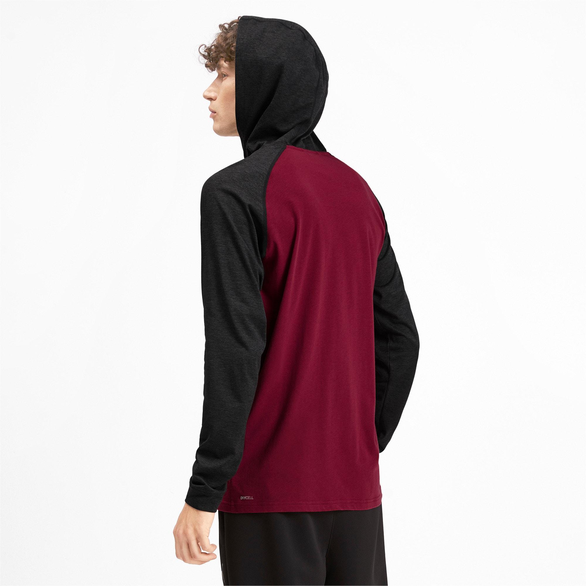 Miniatura 3 de Camiseta Collective con capucha y mangas largas para hombre, Rhubarb-Puma Black Heather, mediano