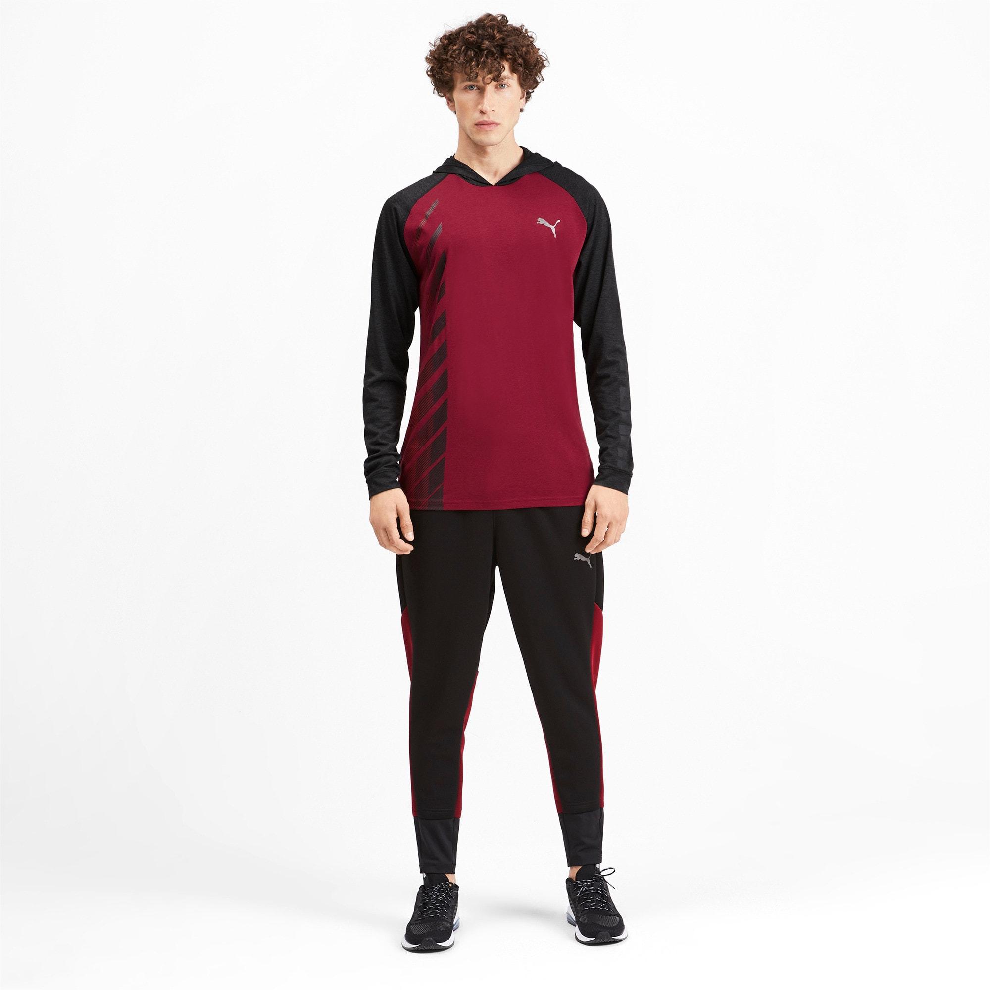 Miniatura 4 de Camiseta Collective con capucha y mangas largas para hombre, Rhubarb-Puma Black Heather, mediano