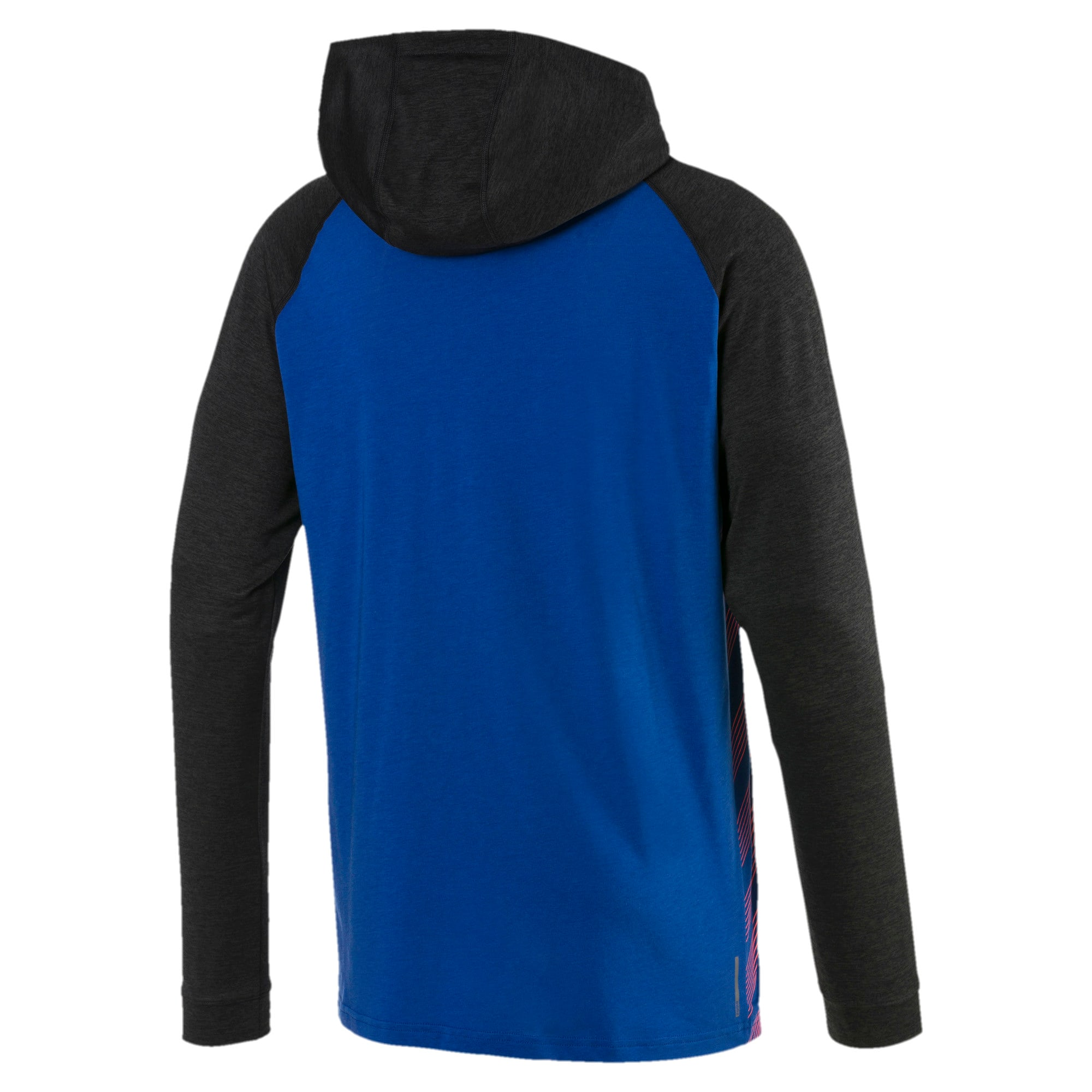 Thumbnail 5 of Collective Men's Long Sleeve Hooded Tee, Galaxy Blue-Black Heather, medium