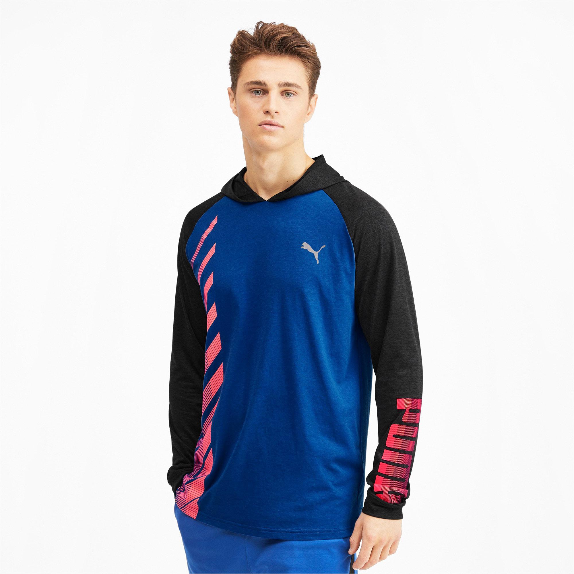 Miniatura 2 de Camiseta Collective con capucha y mangas largas para hombre, Galaxy Blue-Black Heather, mediano