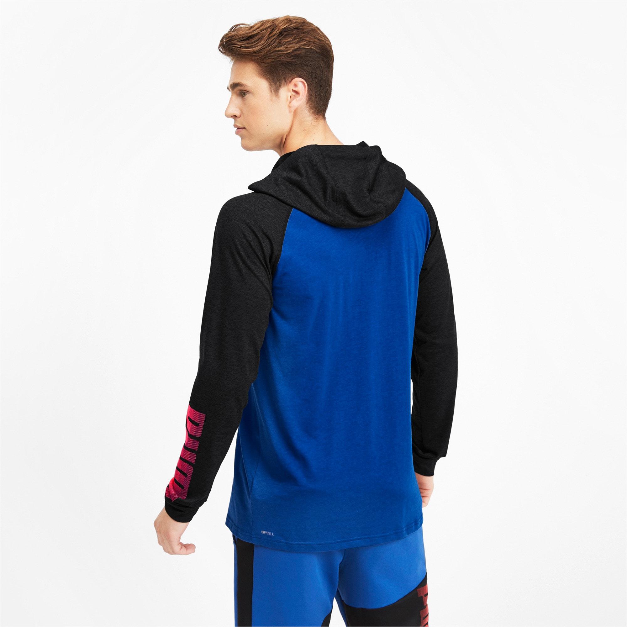 Miniatura 3 de Camiseta Collective con capucha y mangas largas para hombre, Galaxy Blue-Black Heather, mediano