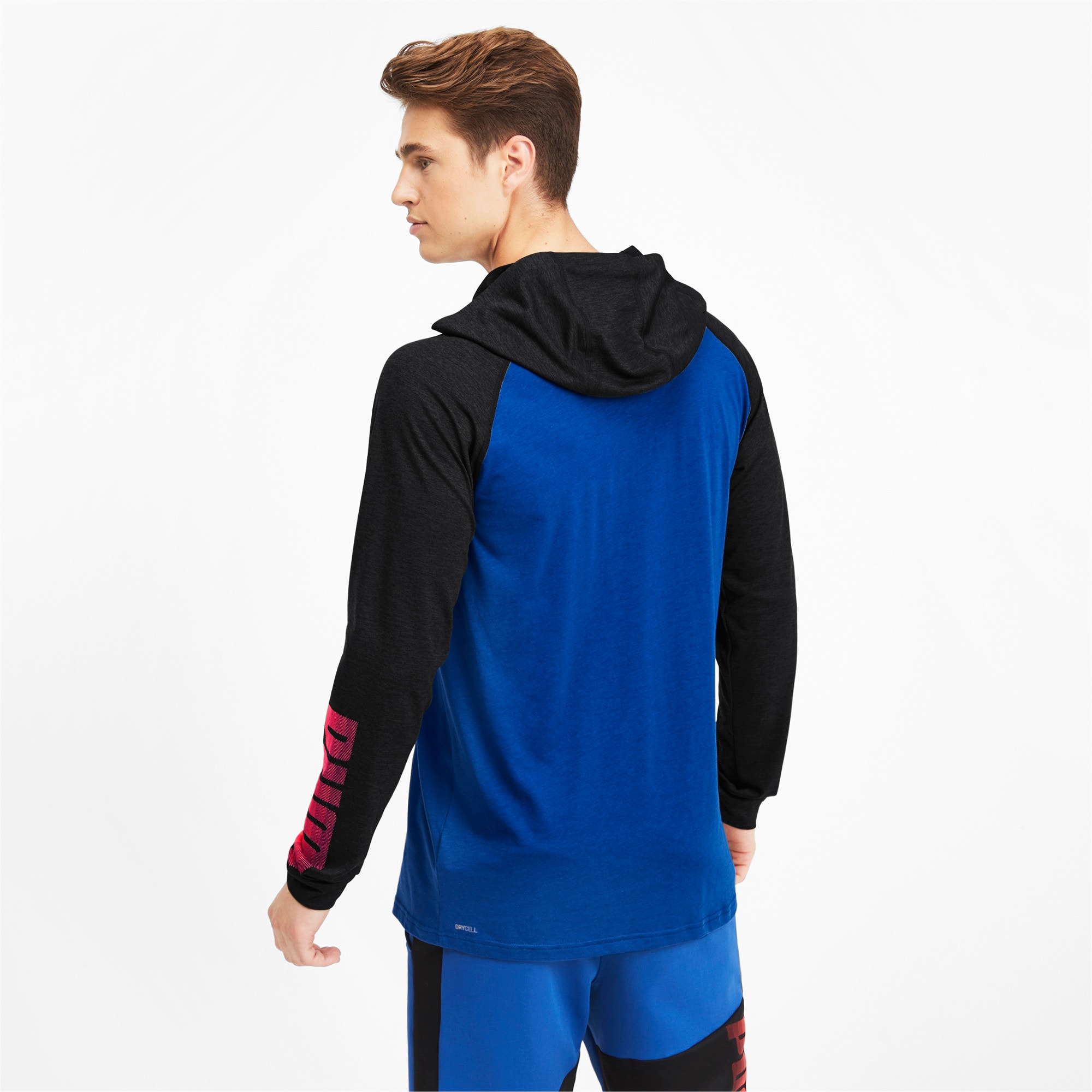 Thumbnail 3 of Collective Men's Long Sleeve Hooded Tee, Galaxy Blue-Black Heather, medium