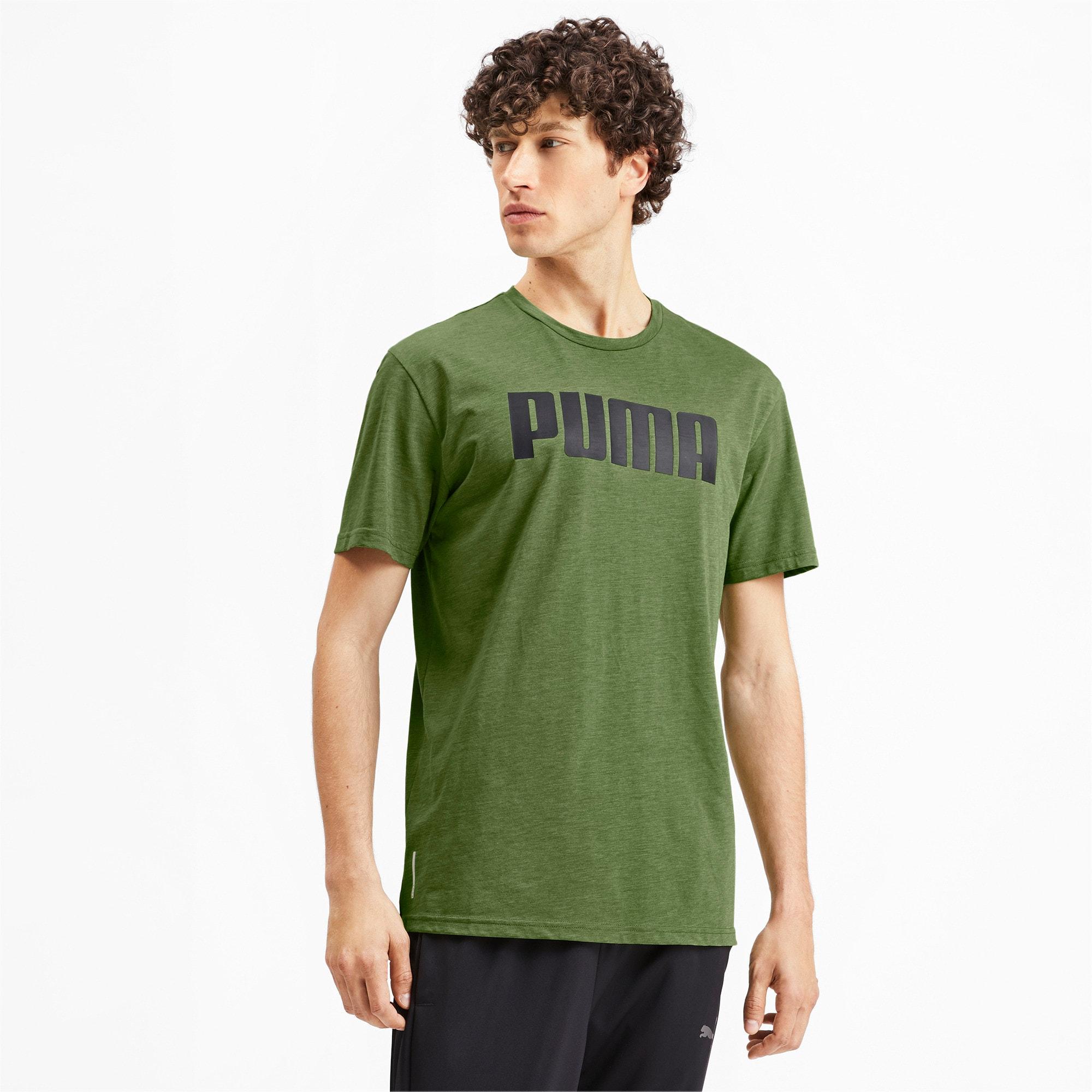 Thumbnail 2 of PUMA Men's Graphic Tee, Garden Green Heather, medium